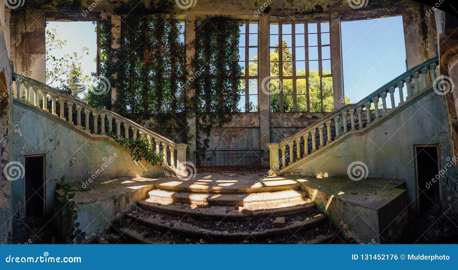 Rujnujący dworu wnętrze przerastający roślinami Przerastać bluszczy okno i starym schody