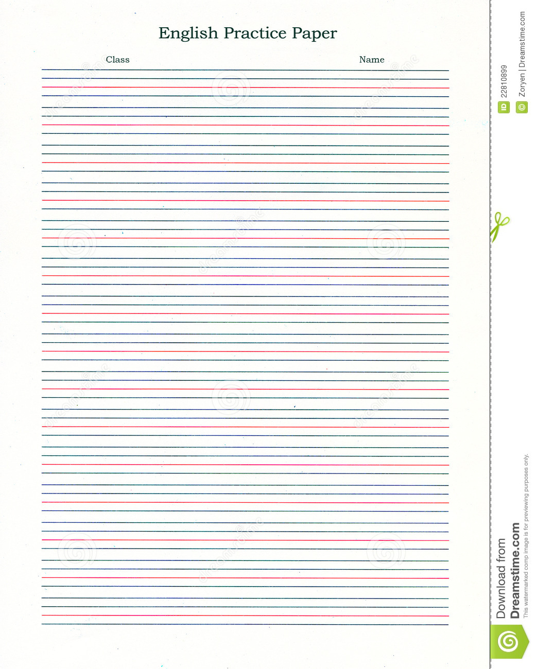 Sheet of English writing practice paper with blue and red lines.