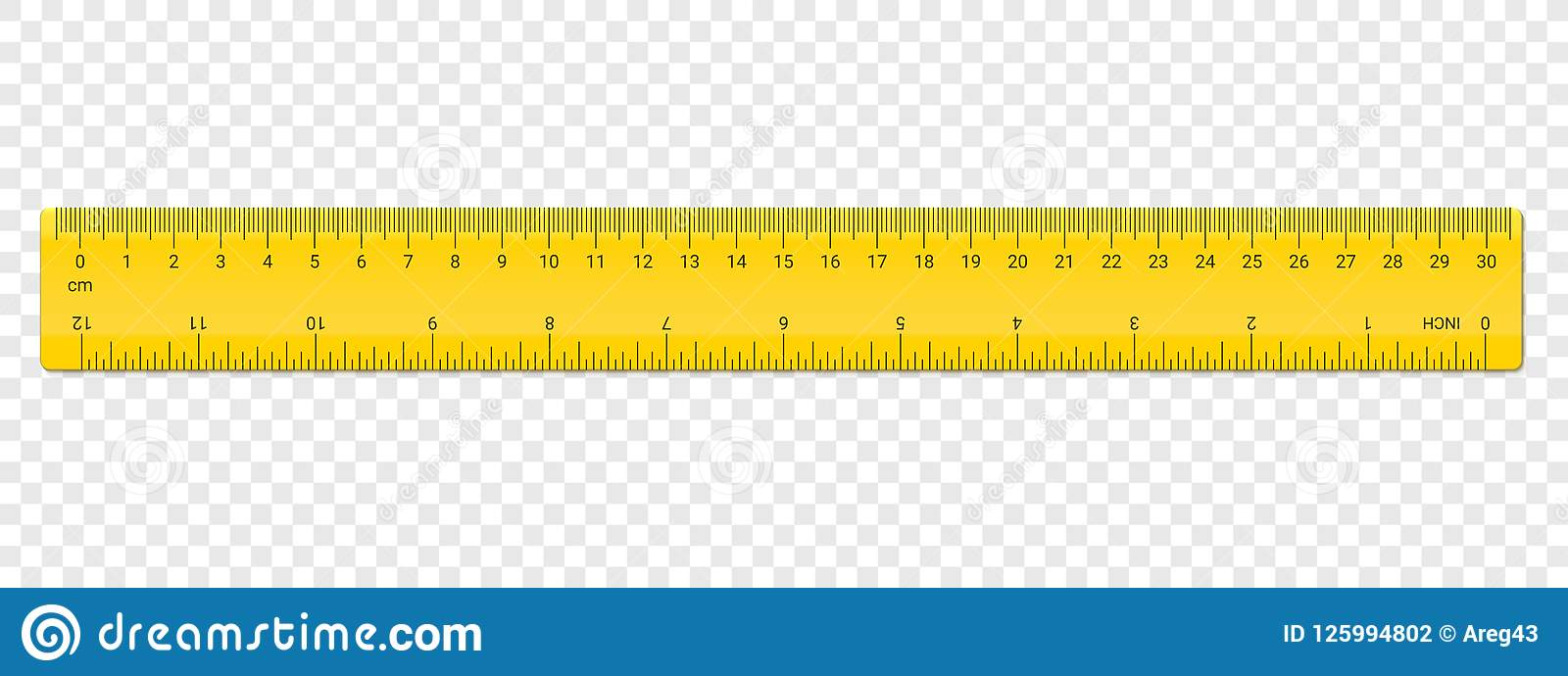 Ruler Inches And Cm Scale On Both Sides Vector School Plastic Yellow Isolated Rulers With Inch And Centimeters Double Side Measurement