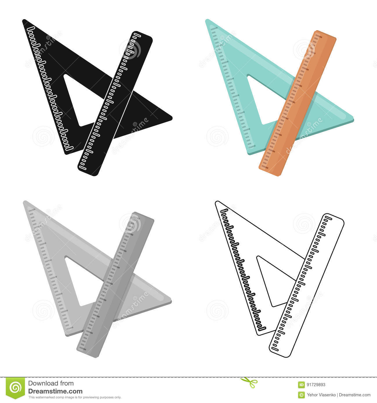Ruler And Triangle Devices For School Drawinghool And Education