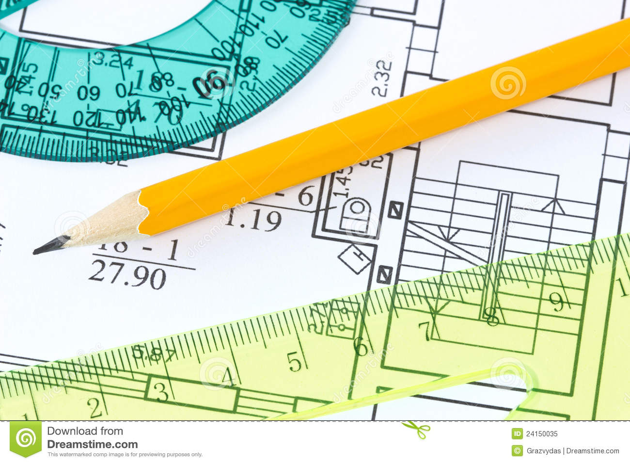 Rulers and pencil on architectural blueprint royalty free for Blueprint scale