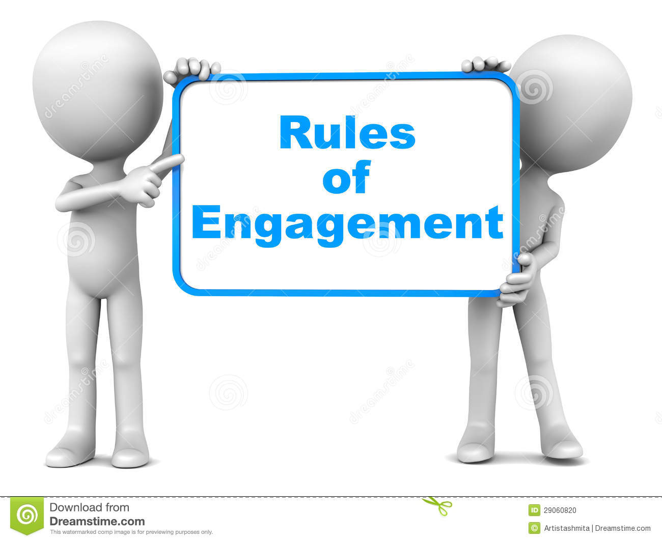 Rules of engagement words over white background, on a board held up by ...