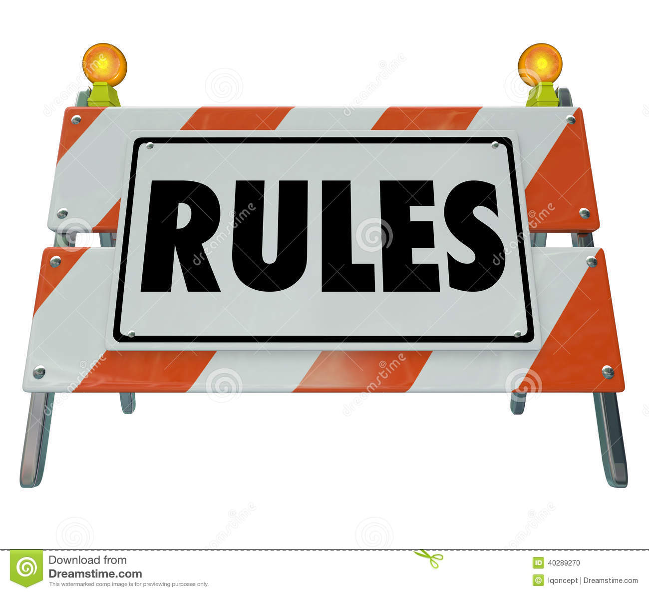 Rules Sign Barricade Guidelines Laws Compliance Stock