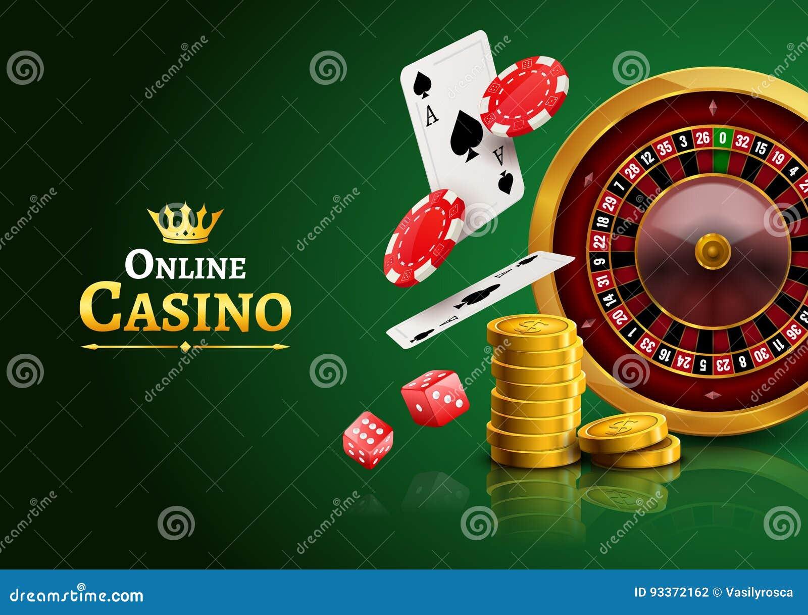 Ruleta del casino con los microprocesadores, las monedas y la bandera de juego realista del cartel de los dados rojos Aviador del