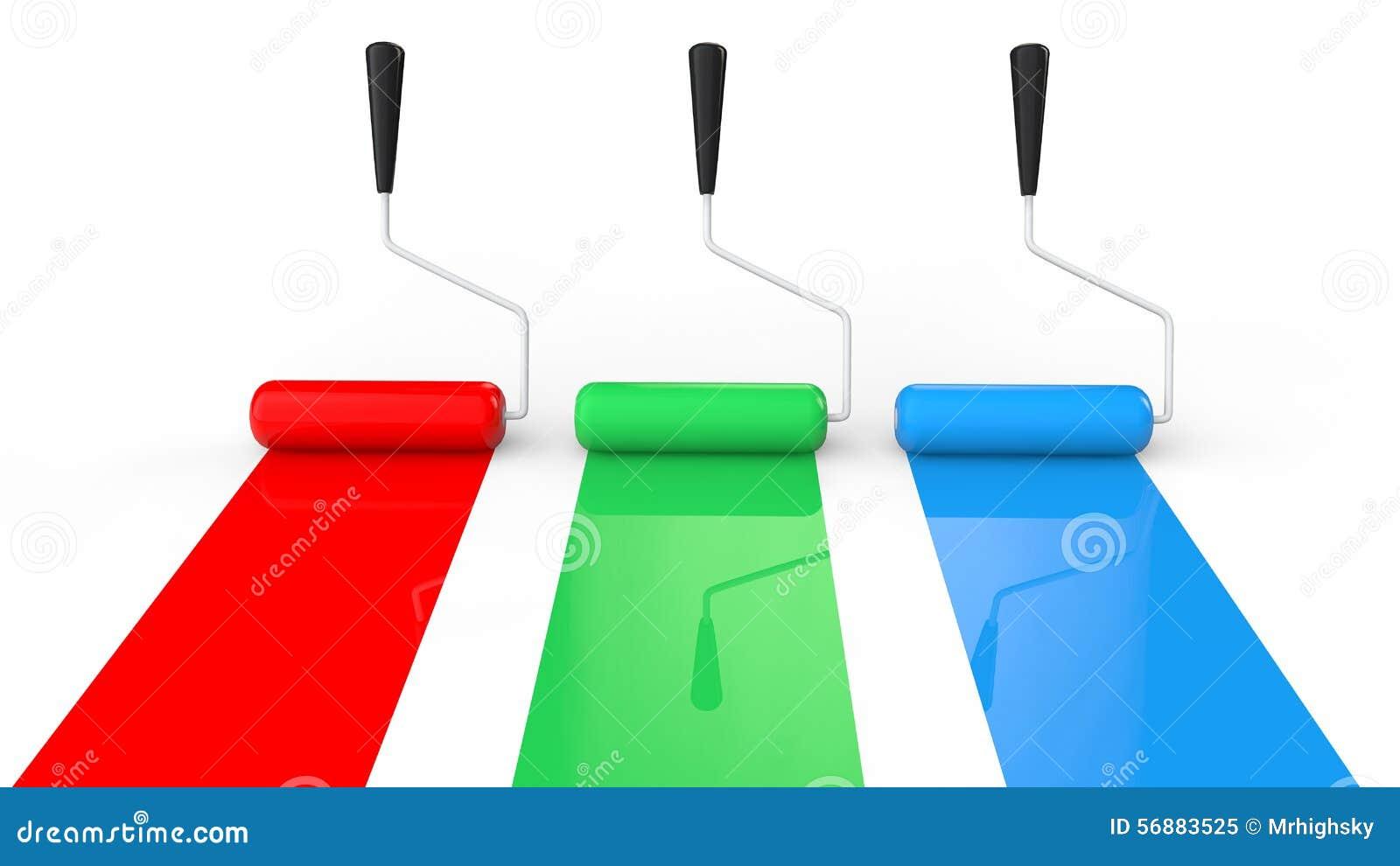 Rulli di pittura verdi 3d e blu rossi