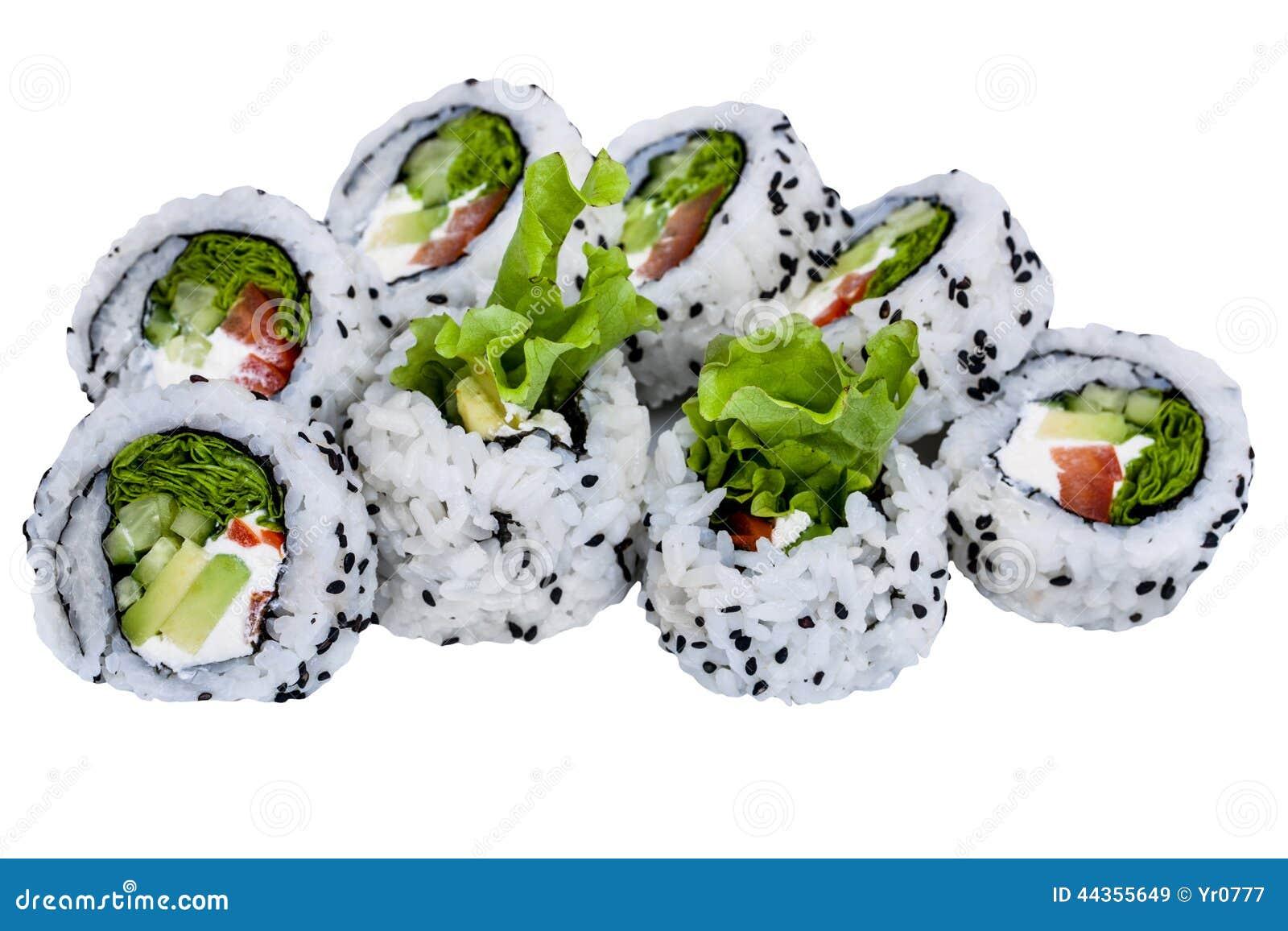 Rulli di sushi isolati su priorità bassa bianca