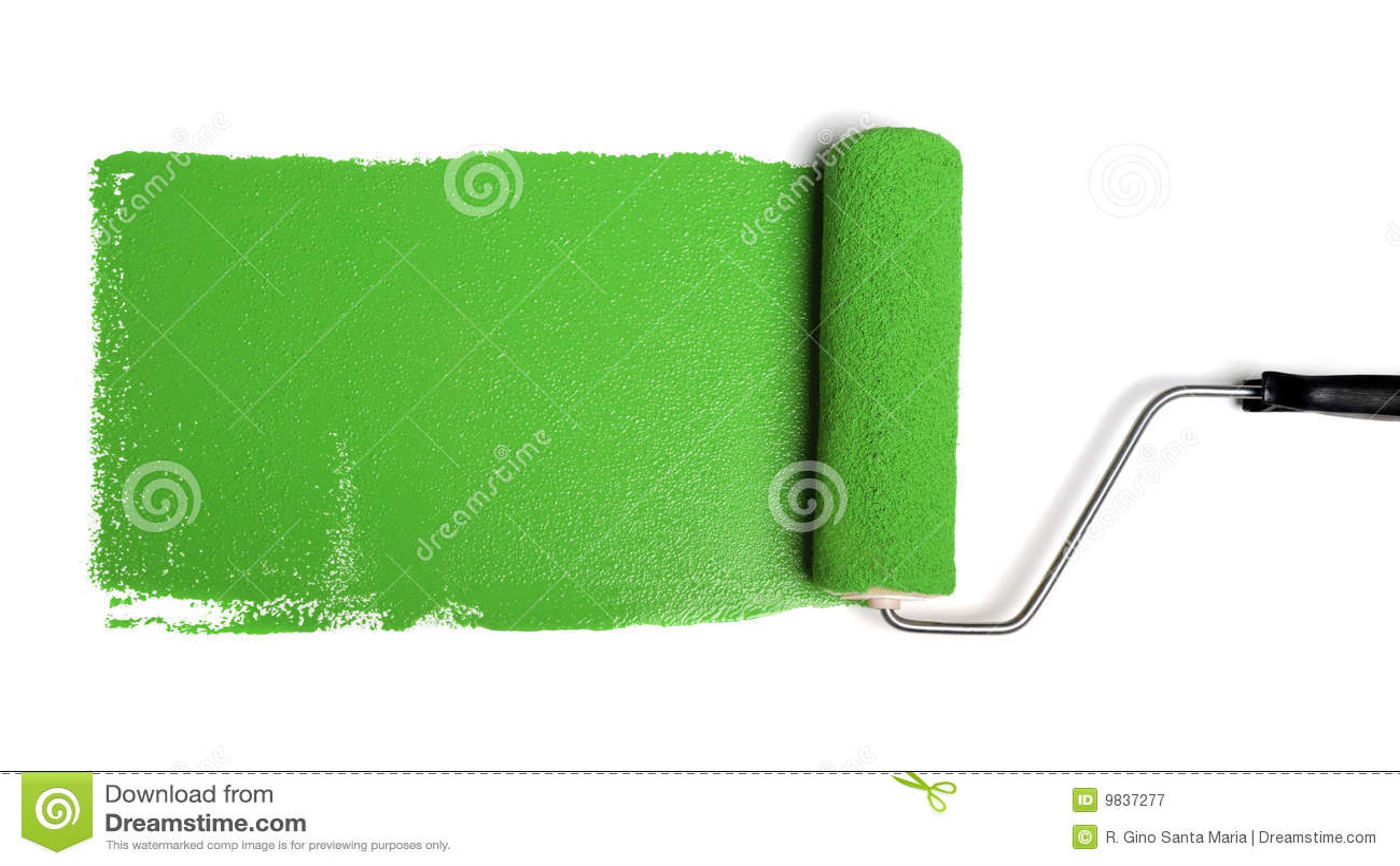 Rullo di vernice con vernice verde