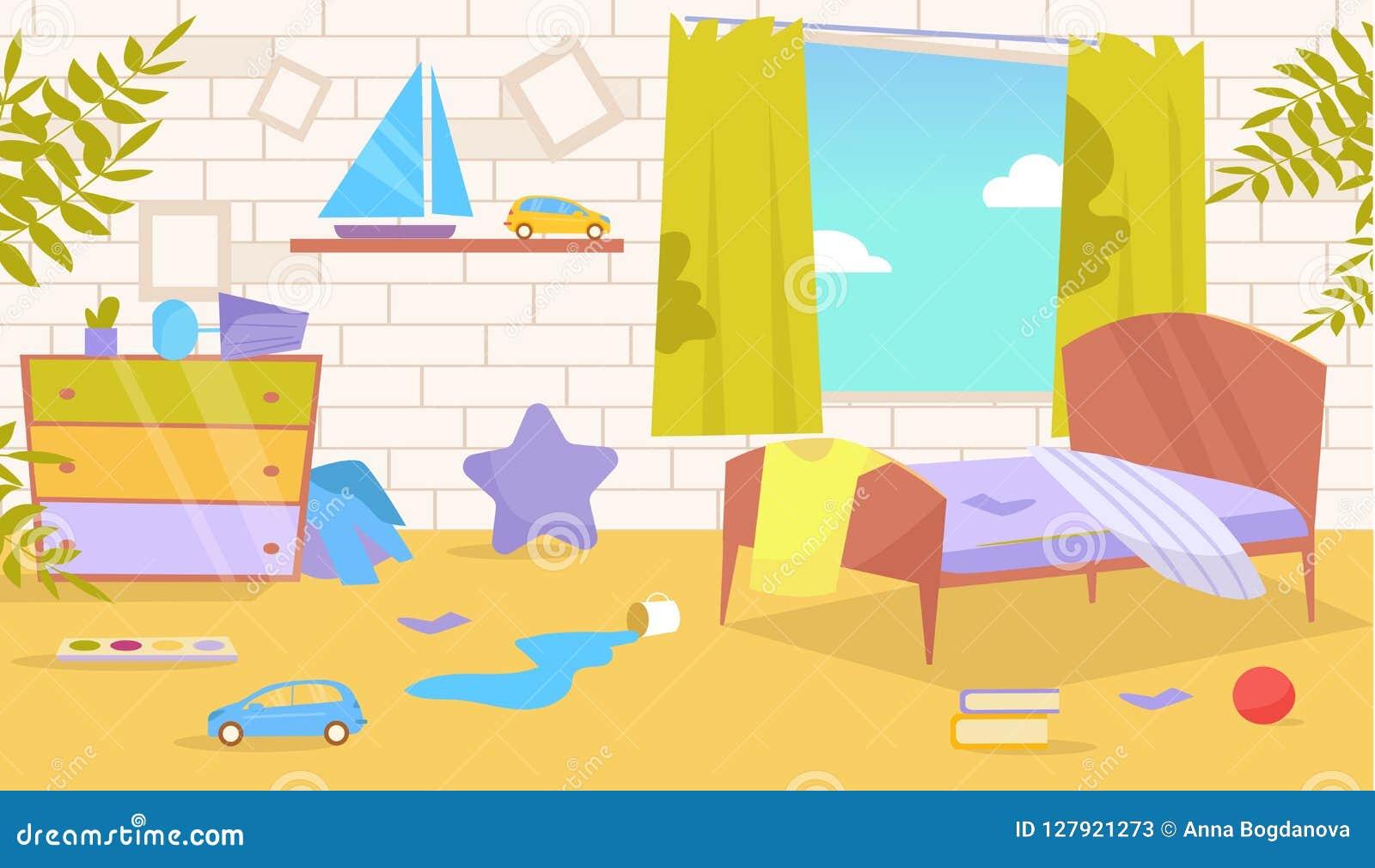 Rum för barn` s Smutsig smutsig vektor cartoon Isolerad konst på vit bakgrund