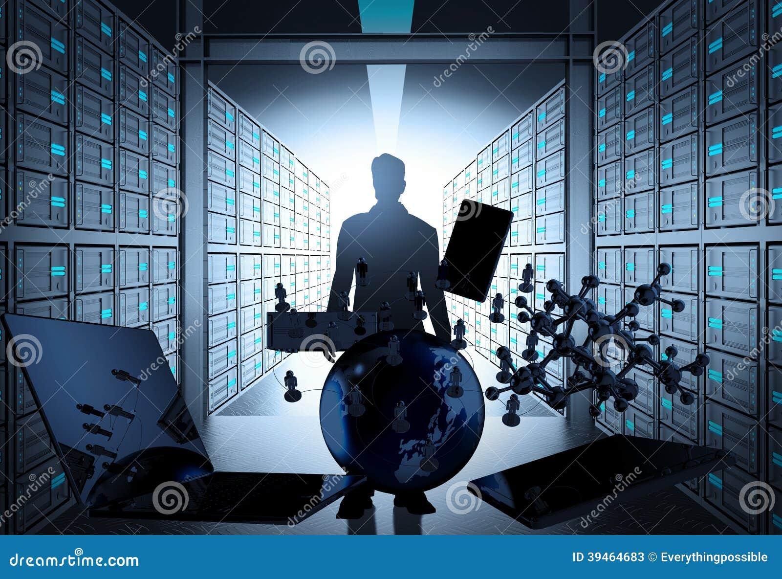 Rum för server för nätverk 3d som begrepp