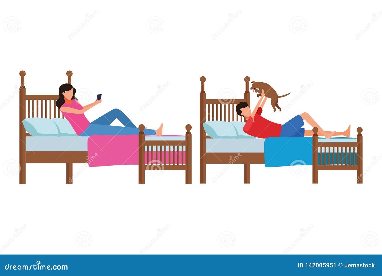 Rum för tvilling- säng och ansiktslöst folk