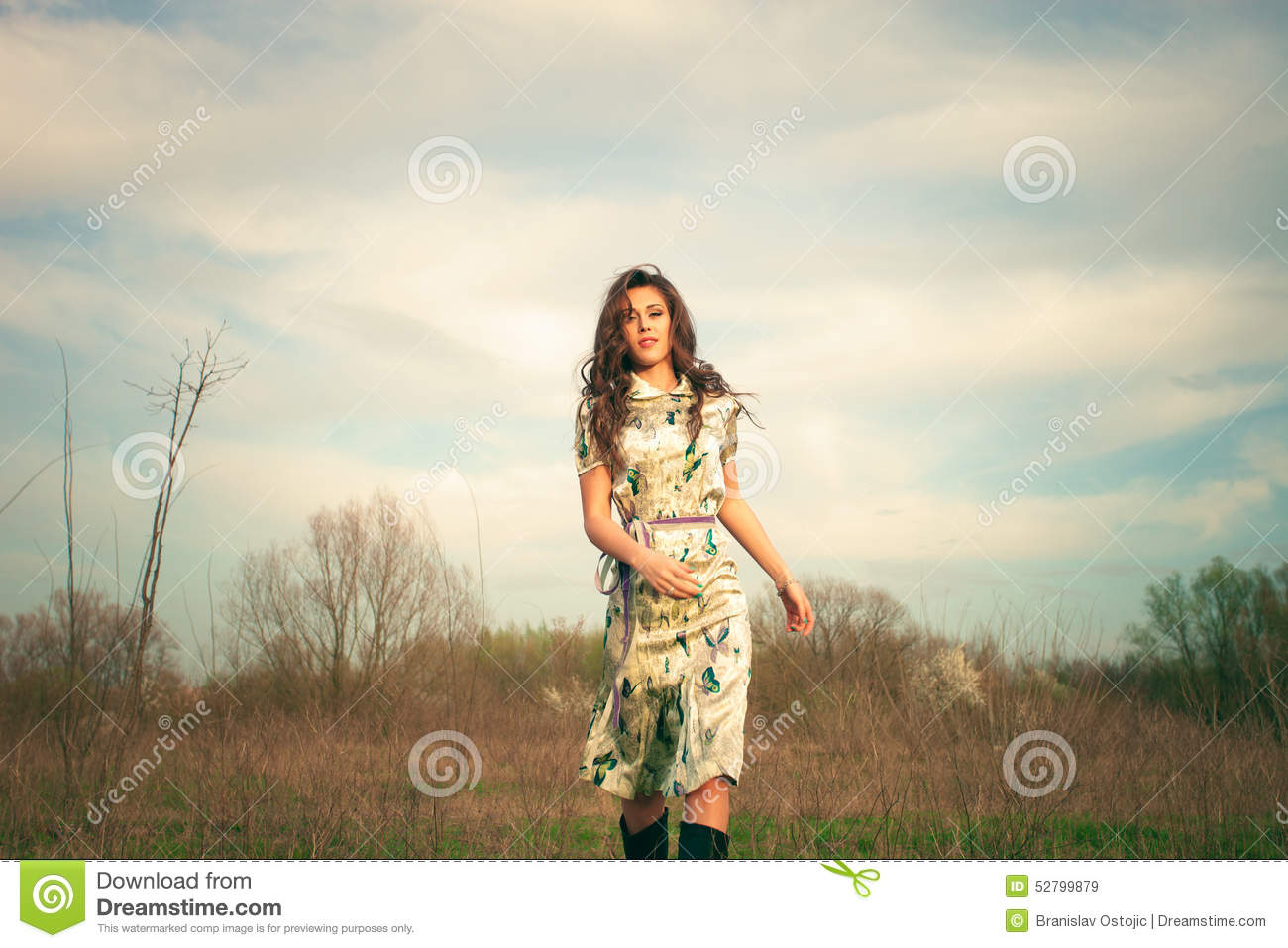 Download Run across the field stock image. Image of beauty, hair - 52799879