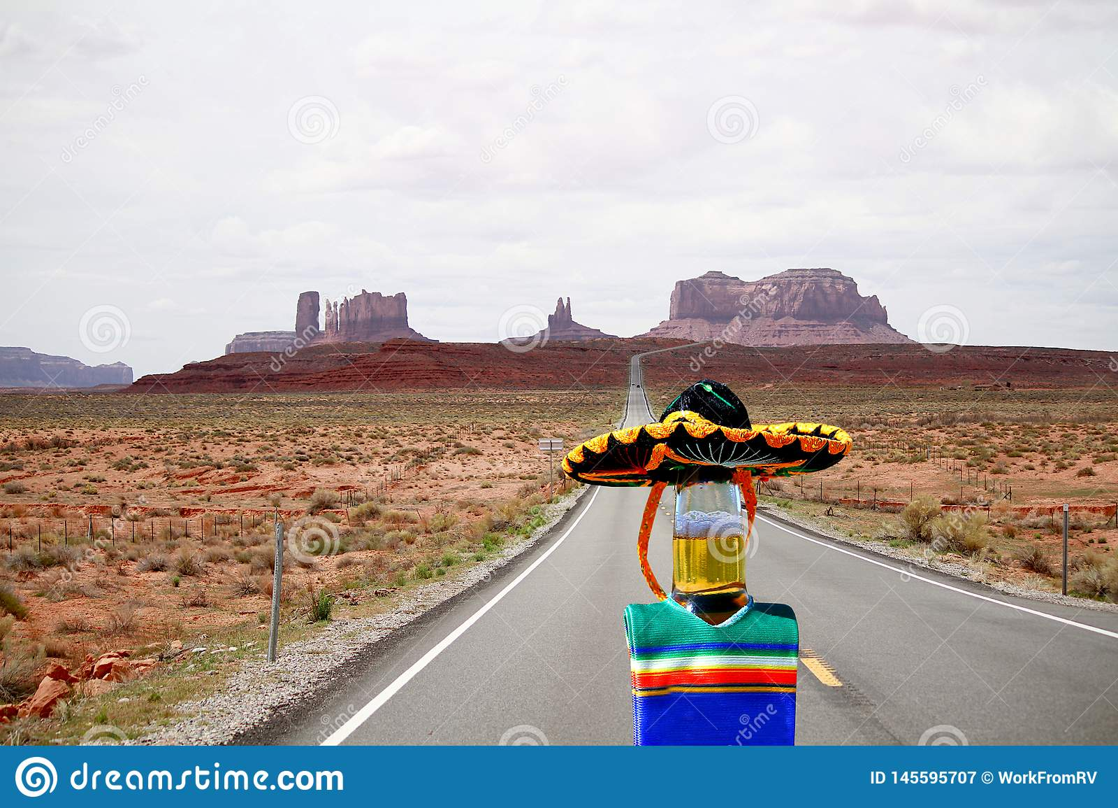 Cinco de Mayo beer bottle running from Monument Valley, Utah.