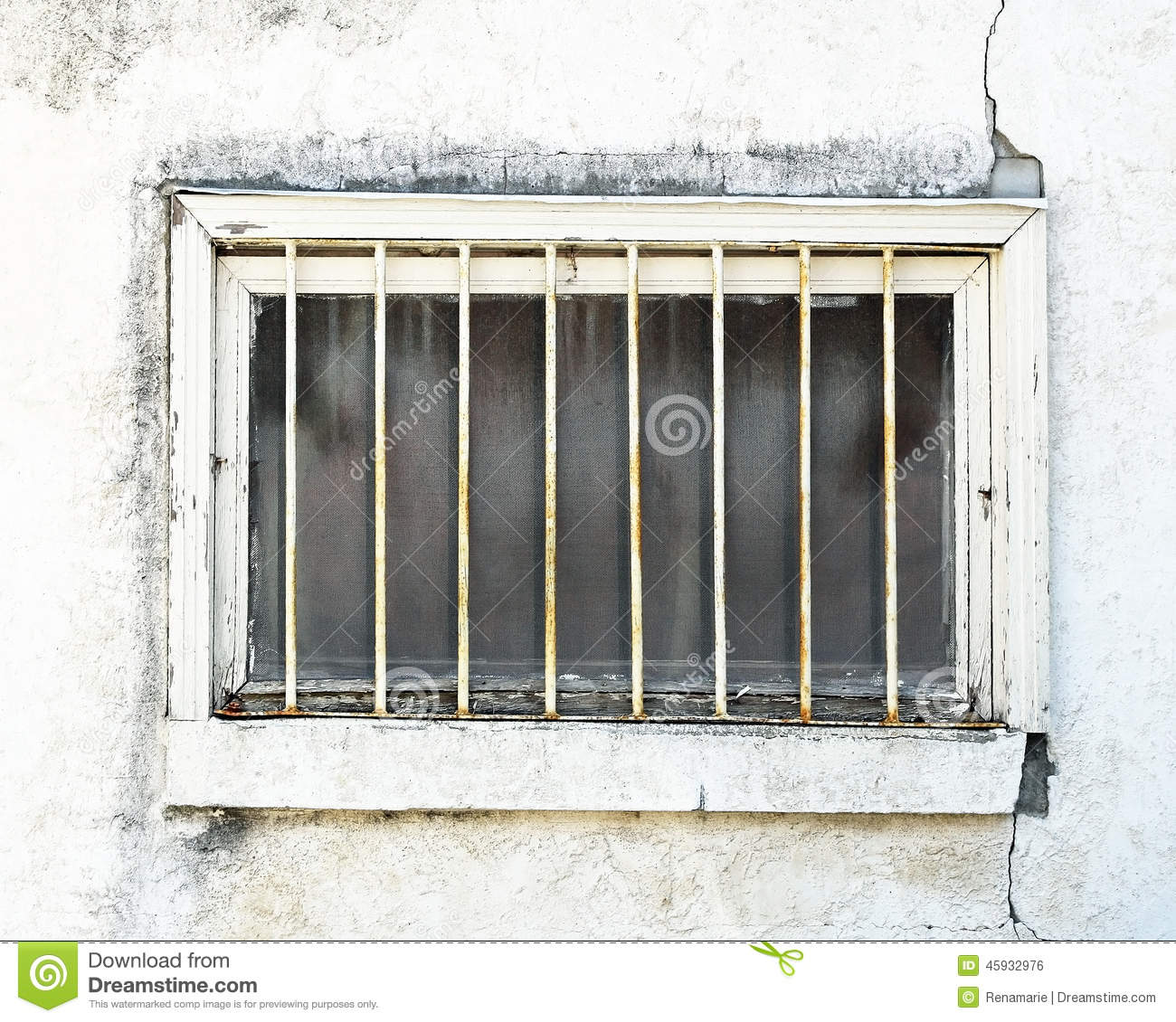 Run Down Exterior Basement Window In Need Of Repair. Outer