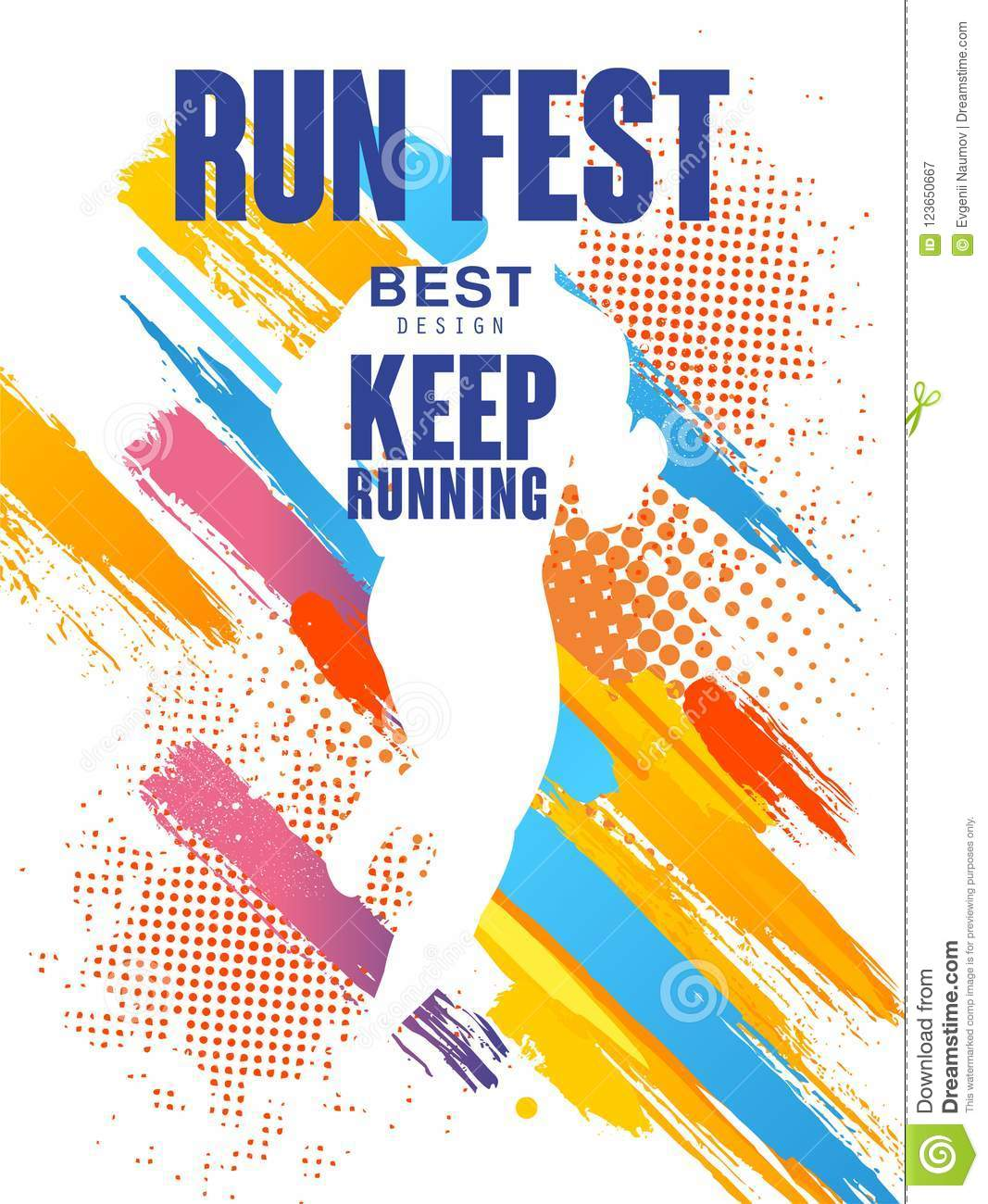 Run Fest Best Design Keep Running Colorful Poster Template For