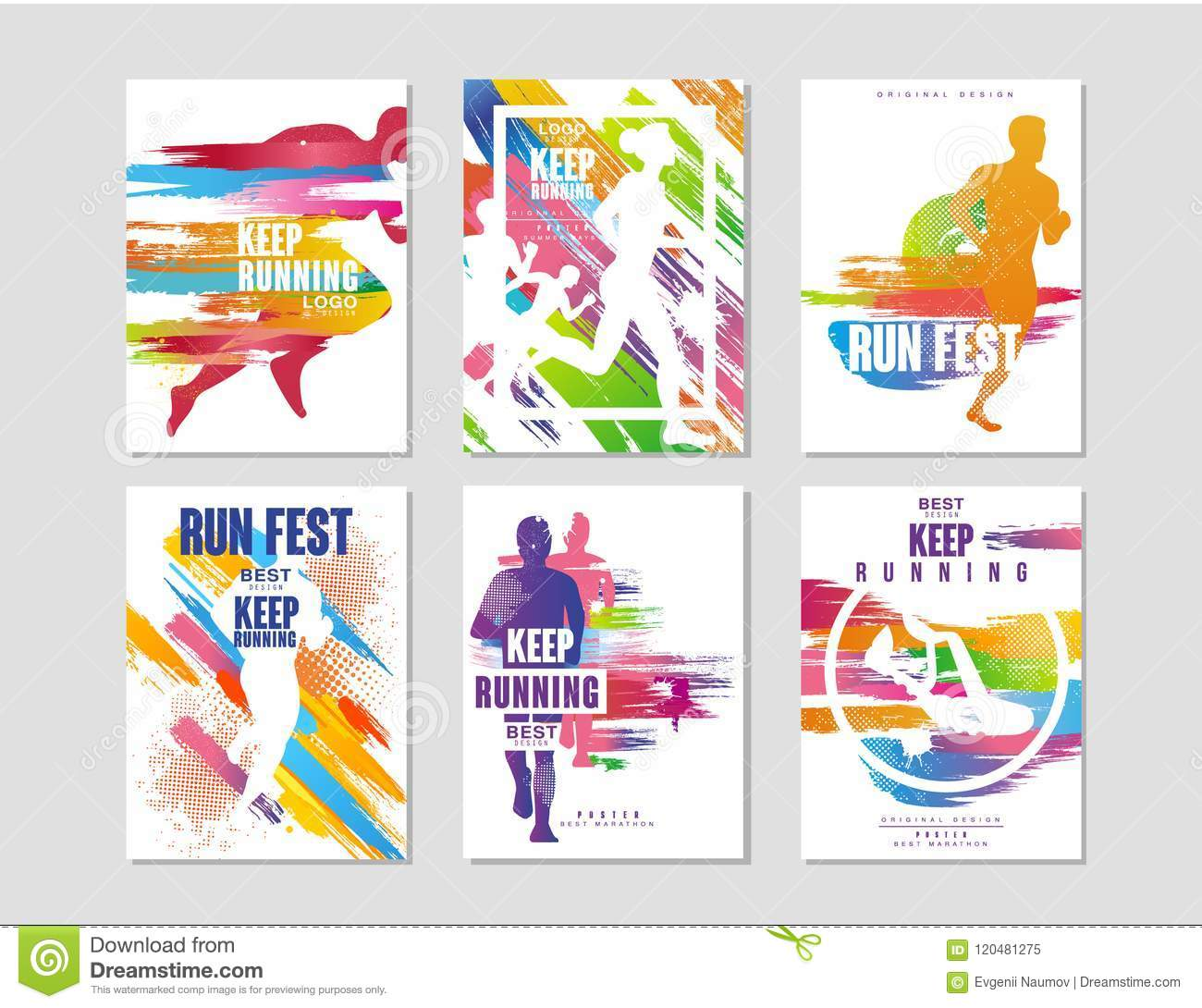 Run Fest Posters Set Sport And Competition Concept Running