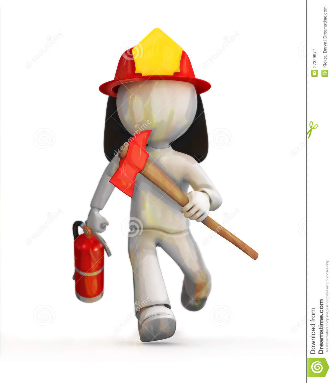 3d illustration of cartoon fire fighter or fireman with helmet and ...