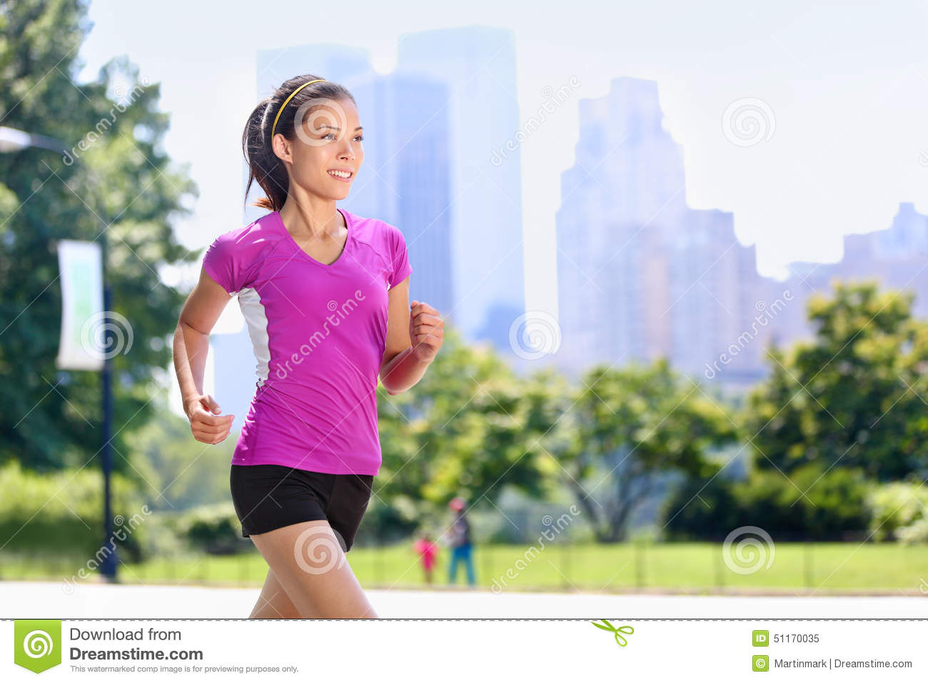 Run woman exercising in Central Park New York City