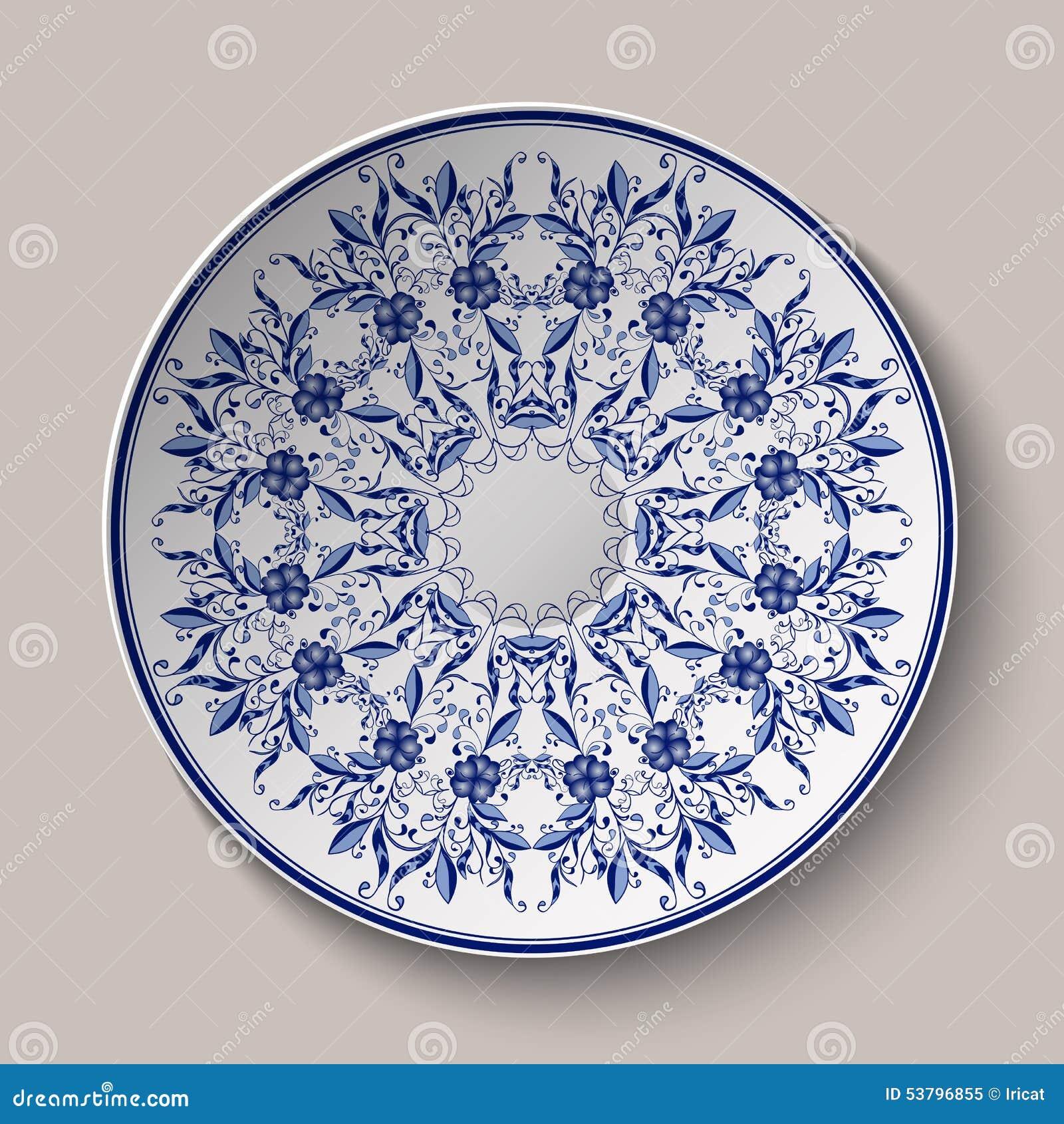 Rund Blå Delikat Blom- Modell Målning För Kinesisk Stil På Porslin ...