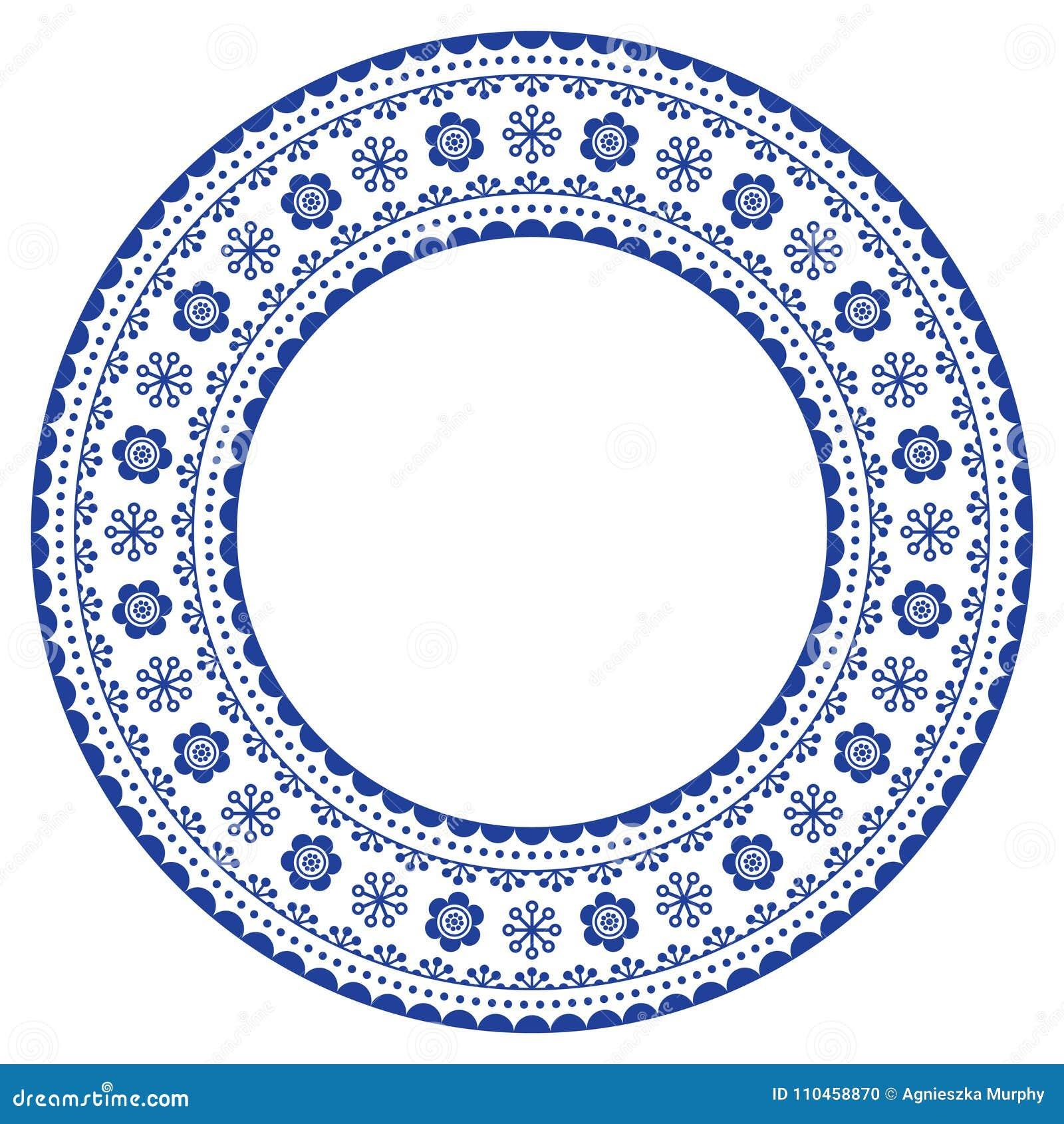 Rund dekorativ ram för skandinav, vektorfolkkonstdesign, blom- sammansättning i marinblått