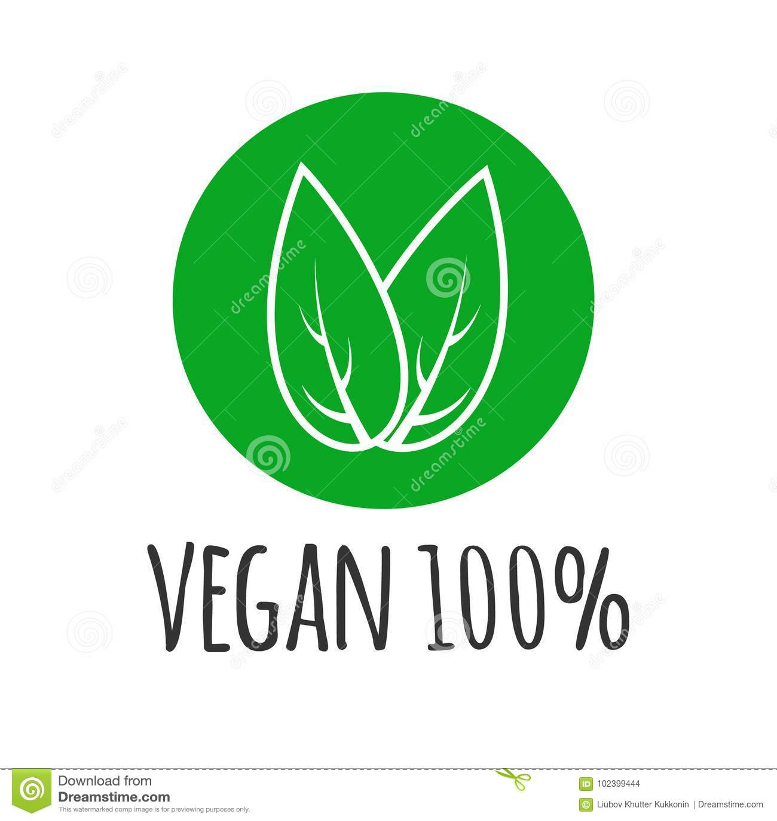 Rund eco, grön logo Strikt vegetarianvektorlogotyp Strikt vegetarianmattecken med sidor organisk design