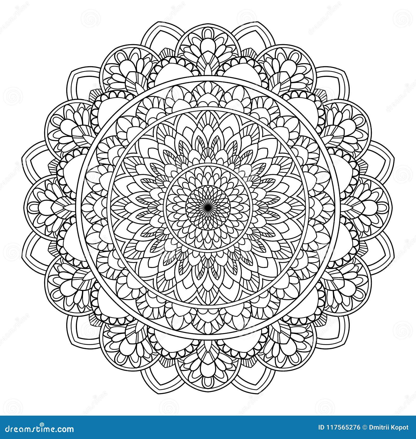 Rund modell i form av mandalaen för henna, Mehndi, tatuering, garnering Dekorativ prydnad i etnisk orientalisk stil
