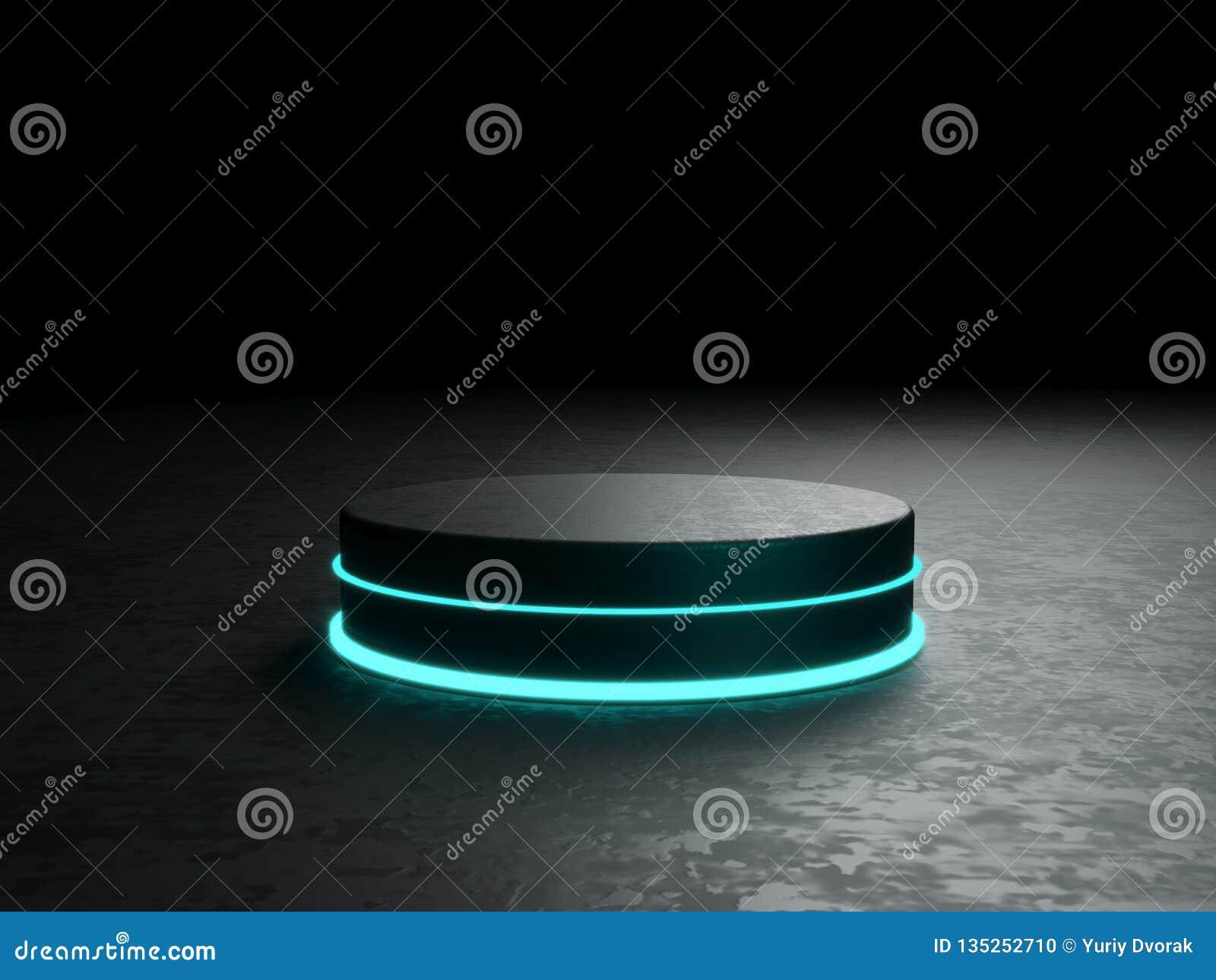 Rund podium, sockel eller plattform, exponerade av ledde strålkastare illustration Ljus lightpodium annonsering av stället
