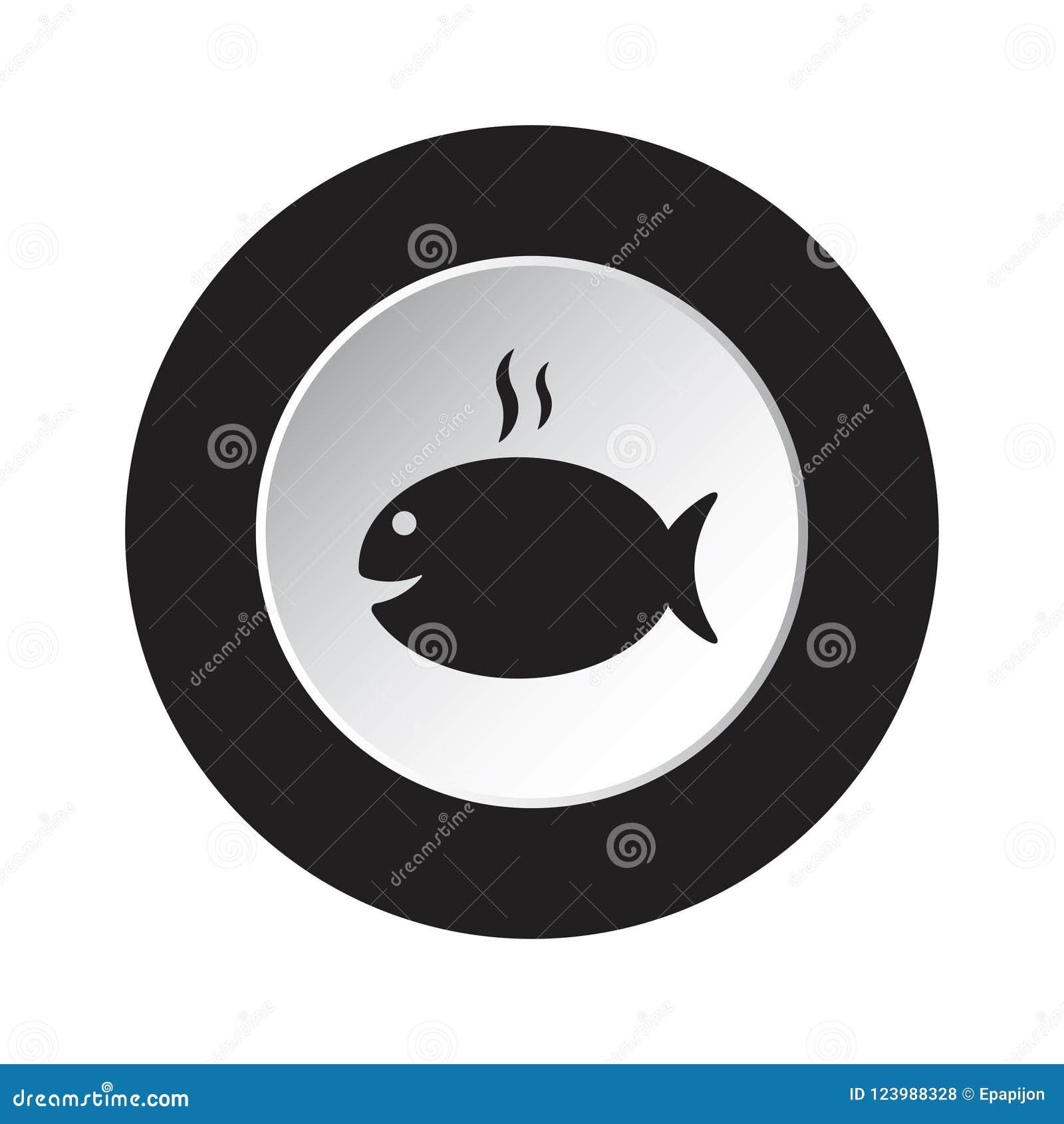 Rund svart, vit symbol - grilla fisken med rök