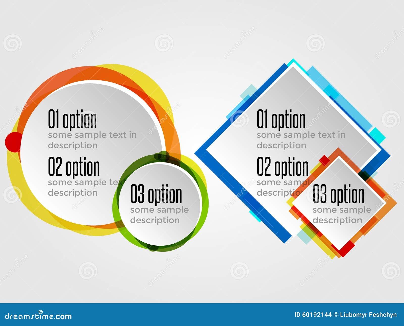 Runda designramar för alternativbaner eller Infographics