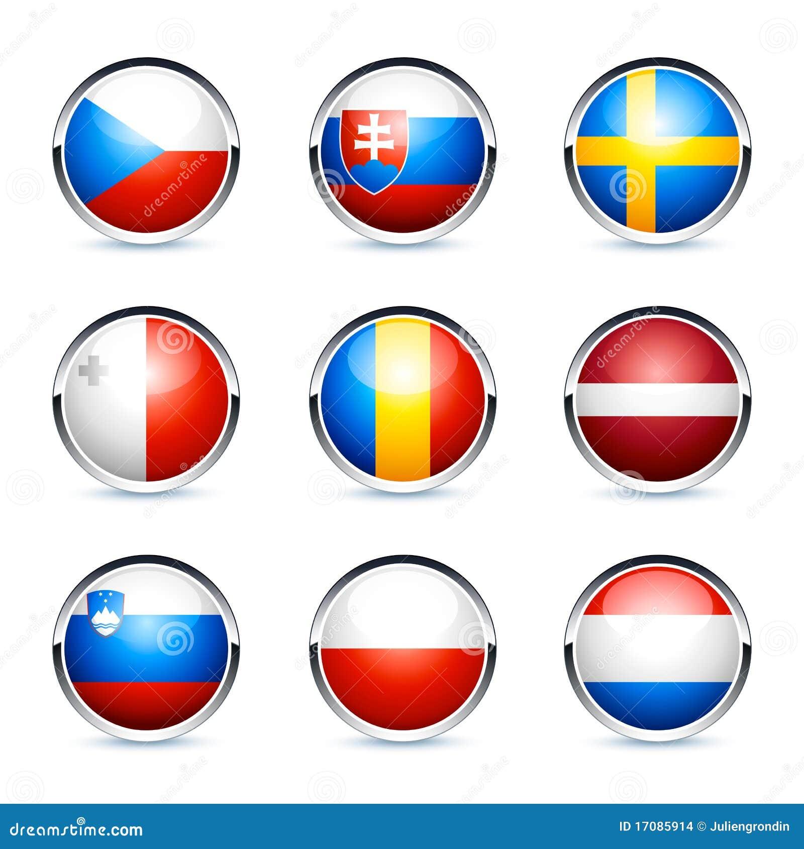 Runda symboler för flagga 3d