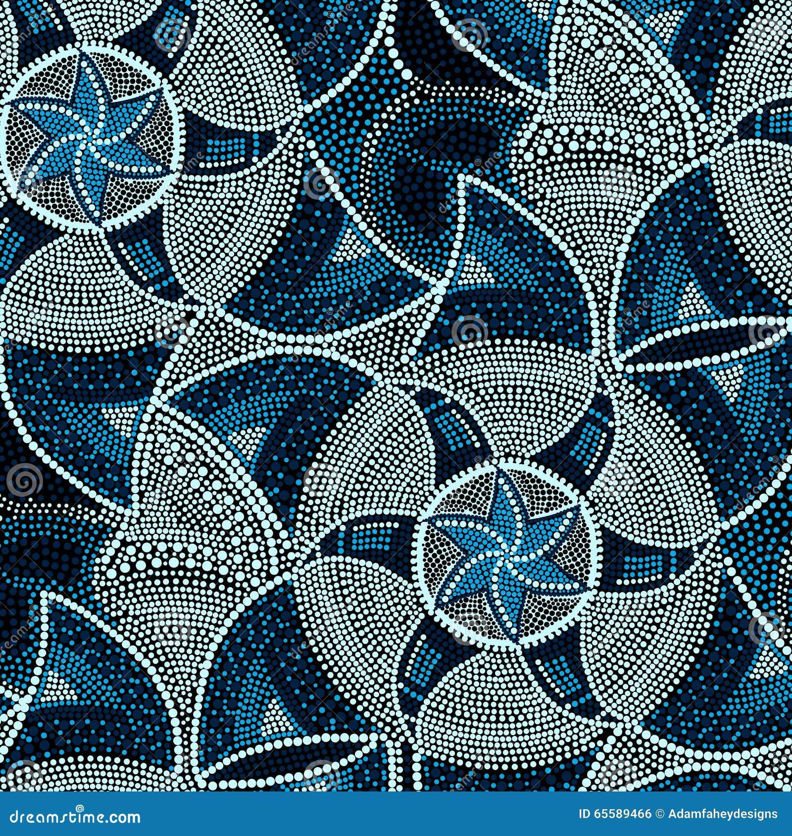 Runde Blaue Fliesen Des Mosaiks Mit Sternen Vektor