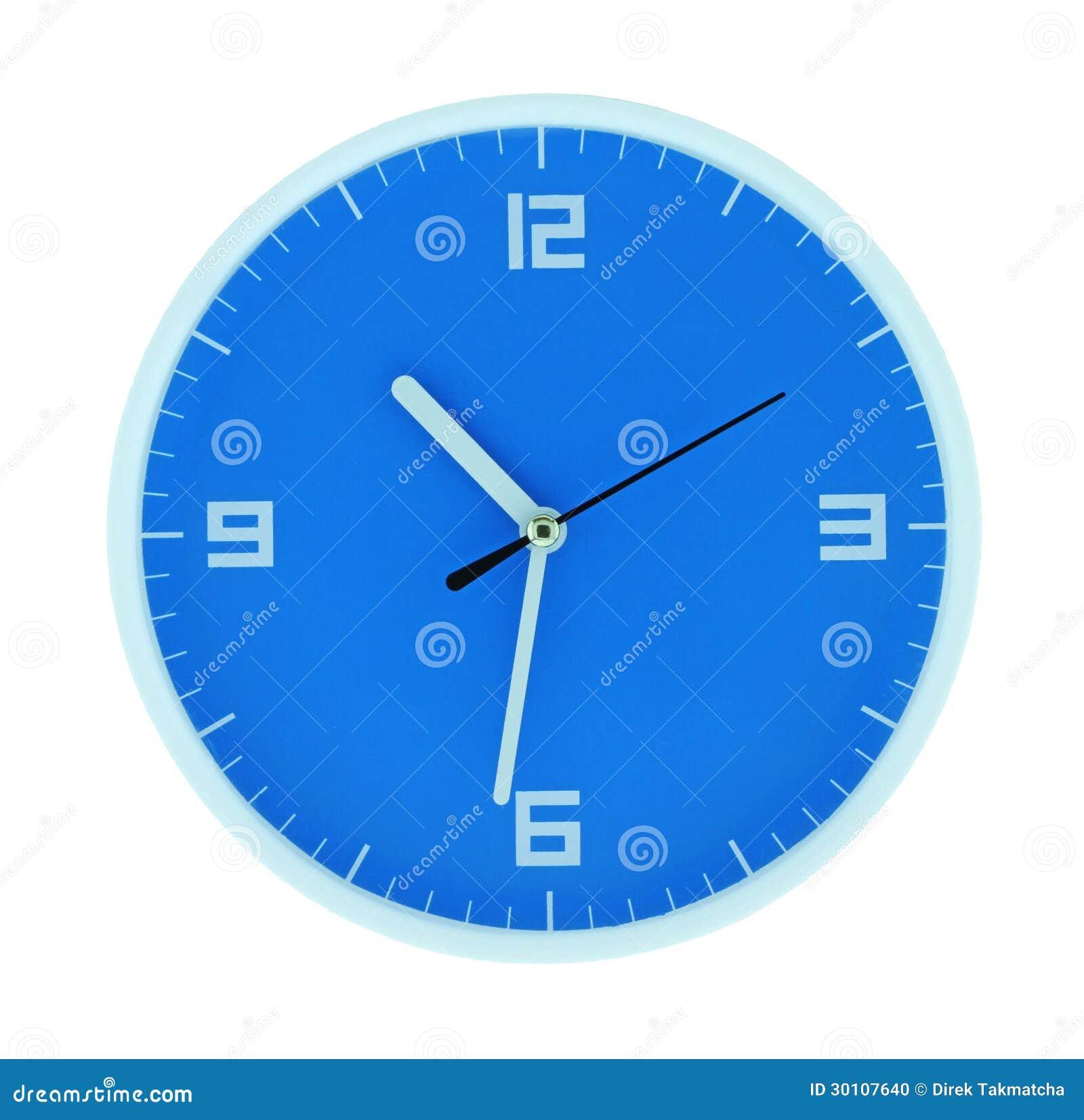 runde blaue uhr stockfoto bild von stunde mitternacht 30107640. Black Bedroom Furniture Sets. Home Design Ideas