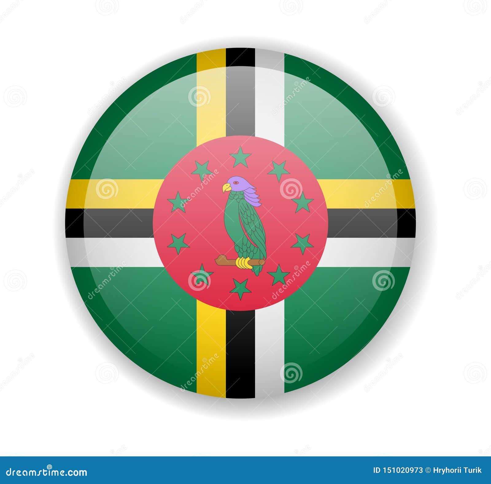 Runde helle Ikone Dominica-Flagge auf einem weißen Hintergrund