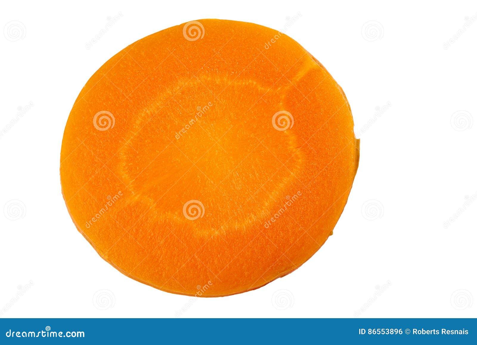 Runde Karottenscheibe auf Weiß