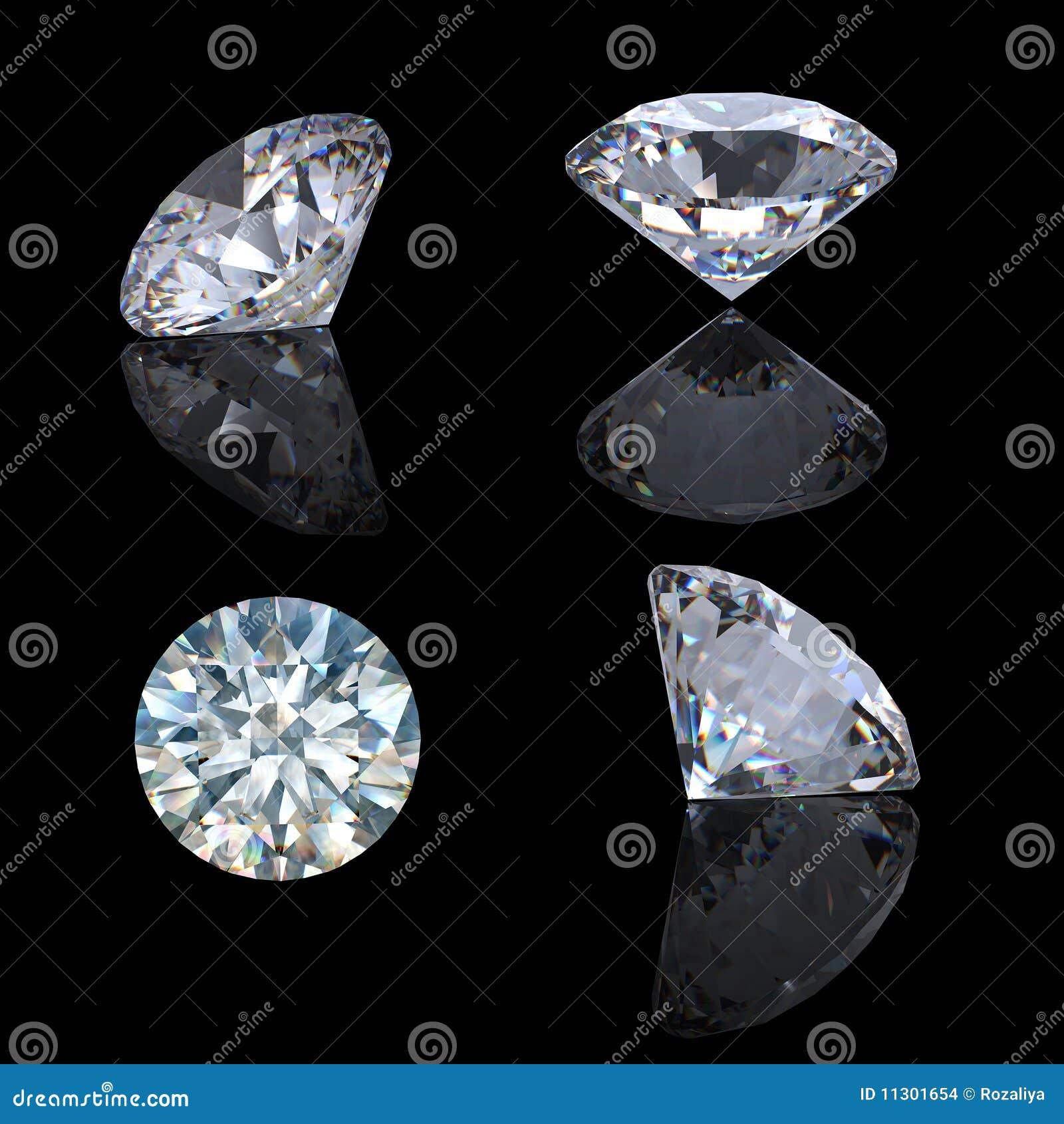 Runde leuchtende Diamantperspektive des Schnittes 3d