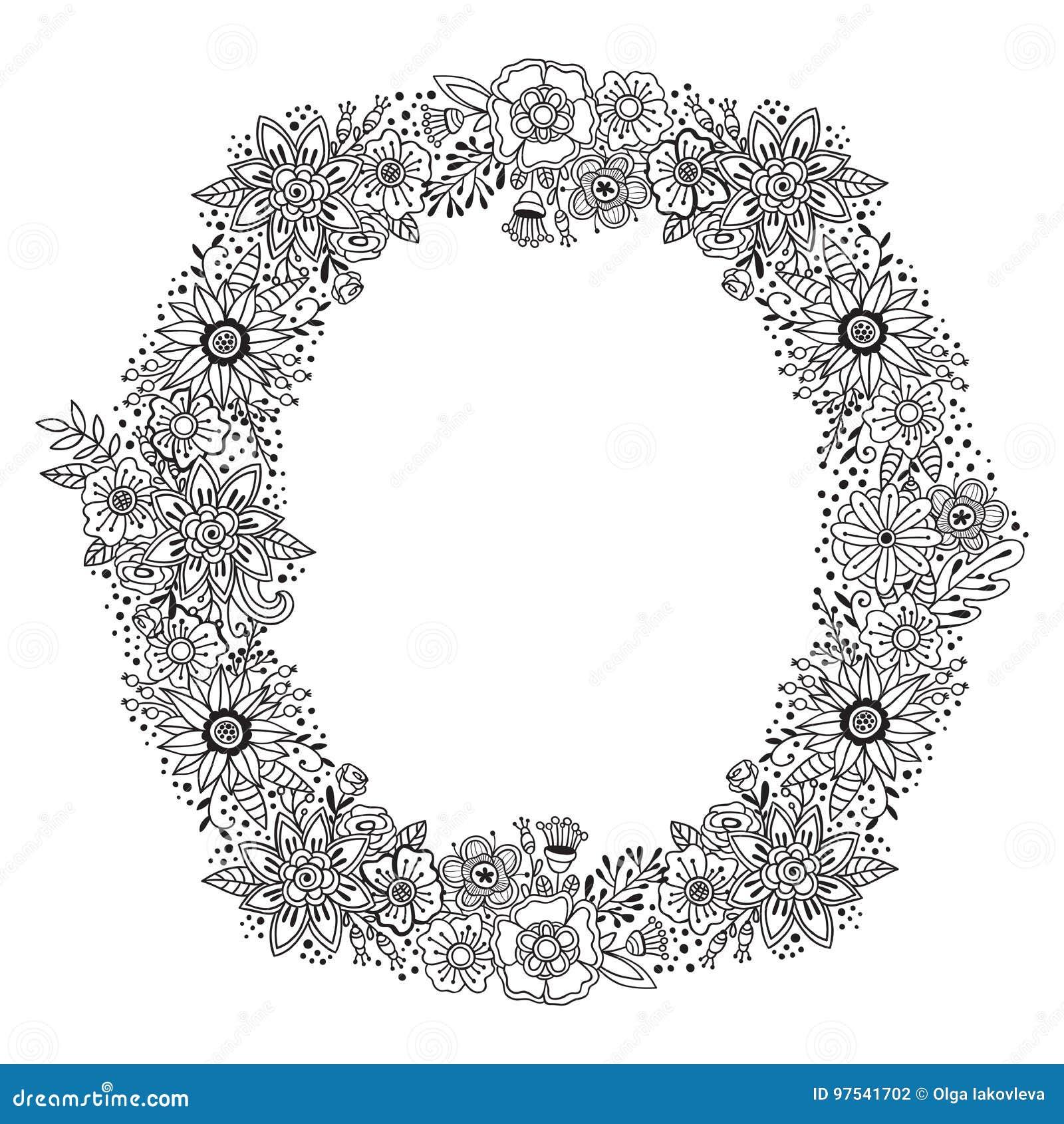 Runde mit Blumenverzierung mit Schwarzweiss-Dekorationskranzrahmen Sommer oder die lokalisierten Herbstblumen und -kräuter entwer