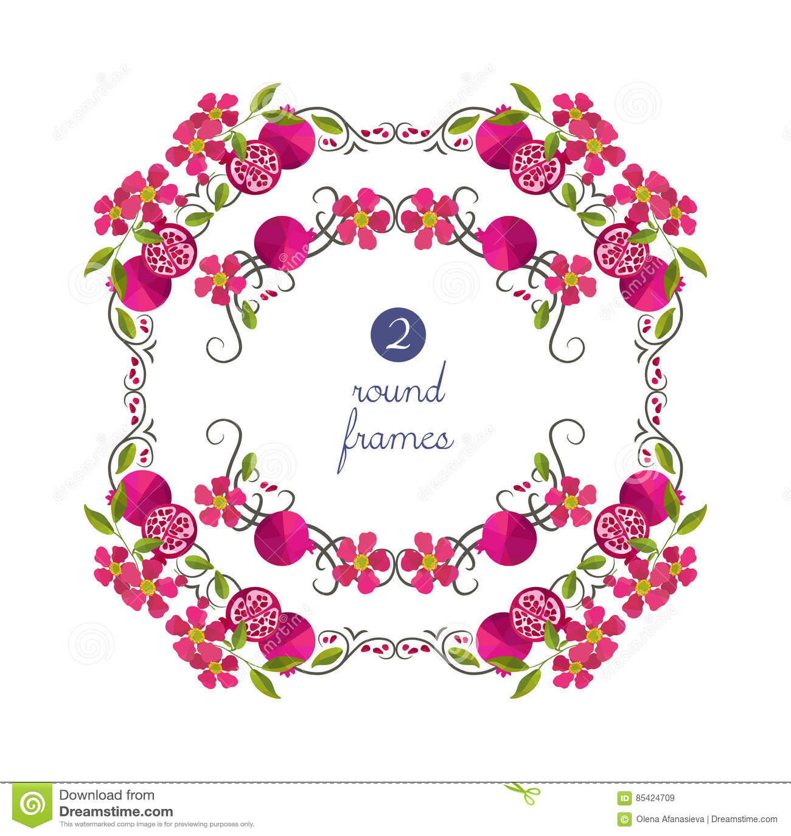 Runde Rahmen Des Vektors Mit Granatapfel Und Blume Vektor Abbildung ...