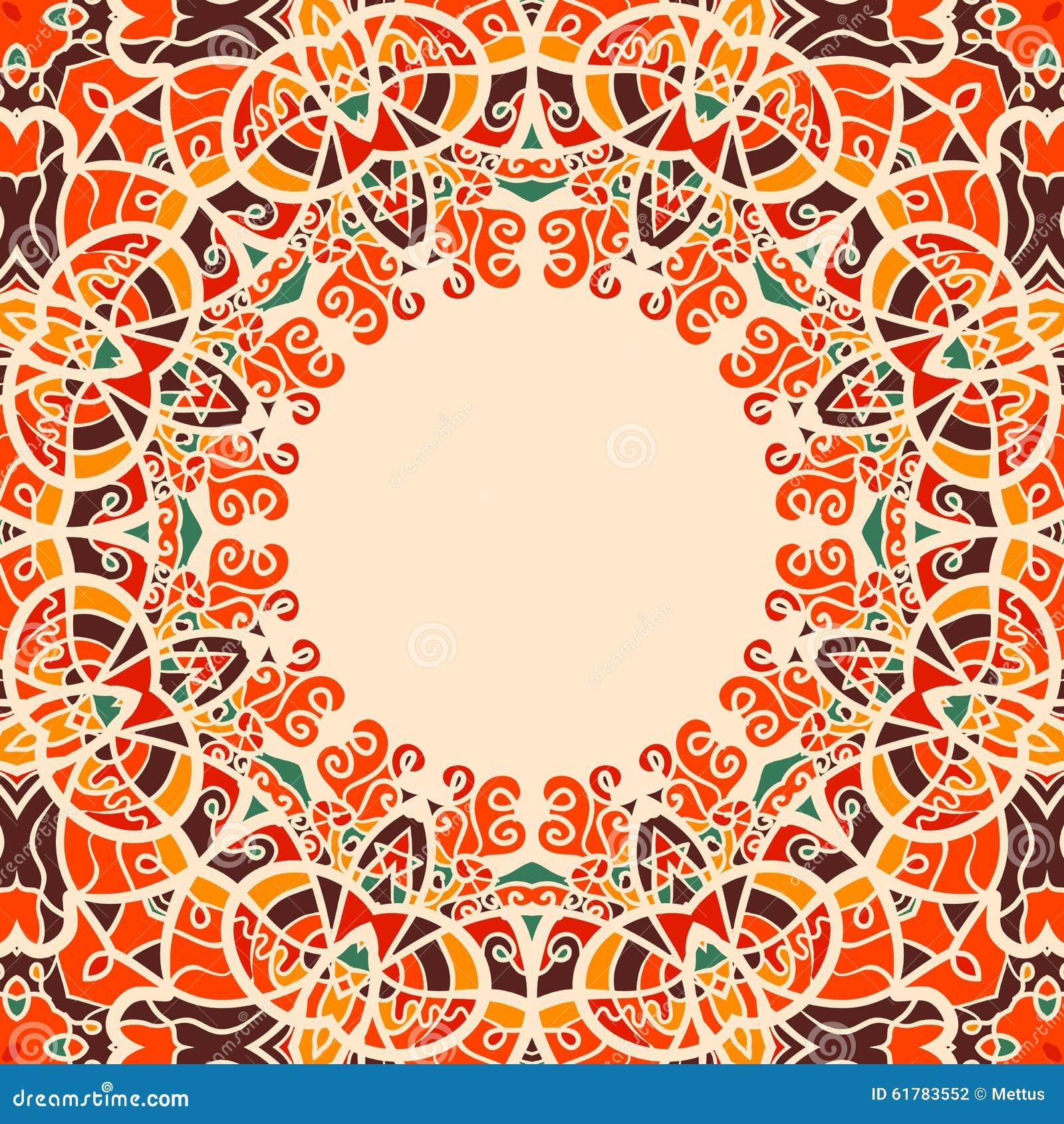 Runde Rahmen-orientalische Art-warme Farbe Vektor Abbildung ...