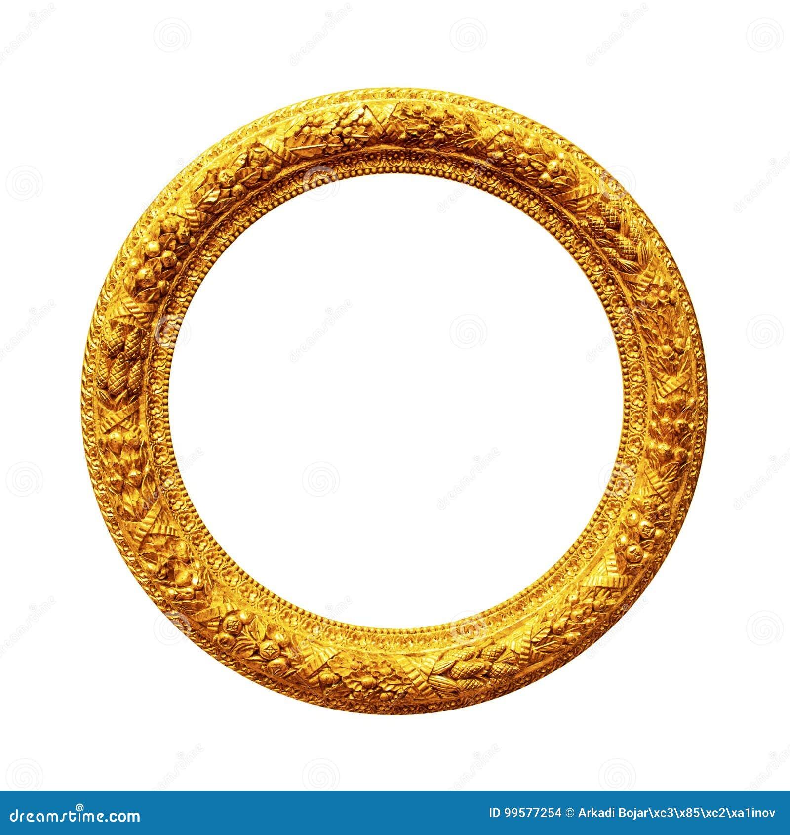 Runder Goldrahmen Lokalisiert Auf Weiß Stockfoto - Bild von barock ...