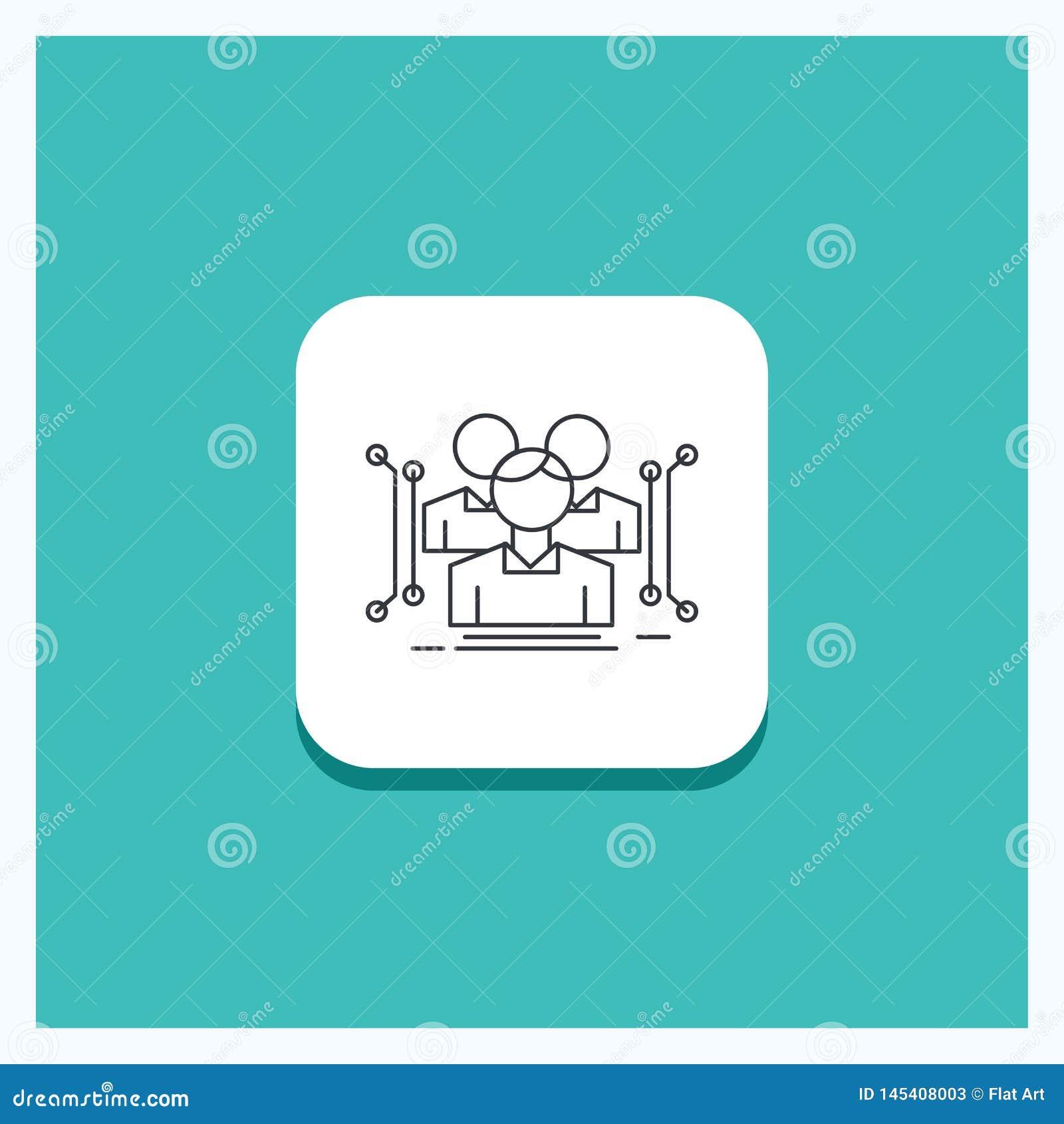 Runder Knopf für Anthropometrie, Körper, Daten, menschliche, allgemeine Linie Ikone Türkis-Hintergrund