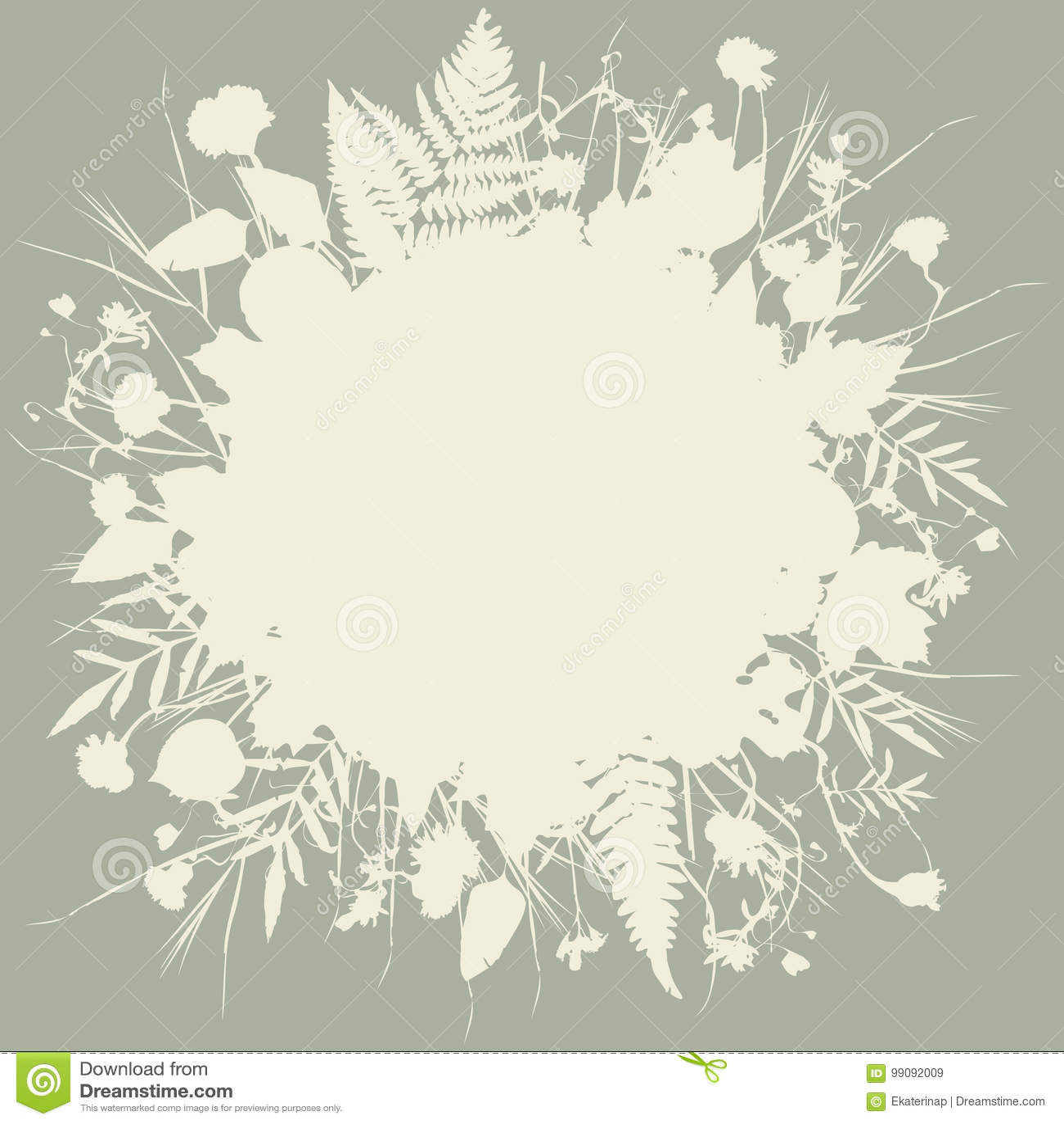 Runder Rahmenmit Blumenkranz Von Blumen Naturliches Design Verlasst