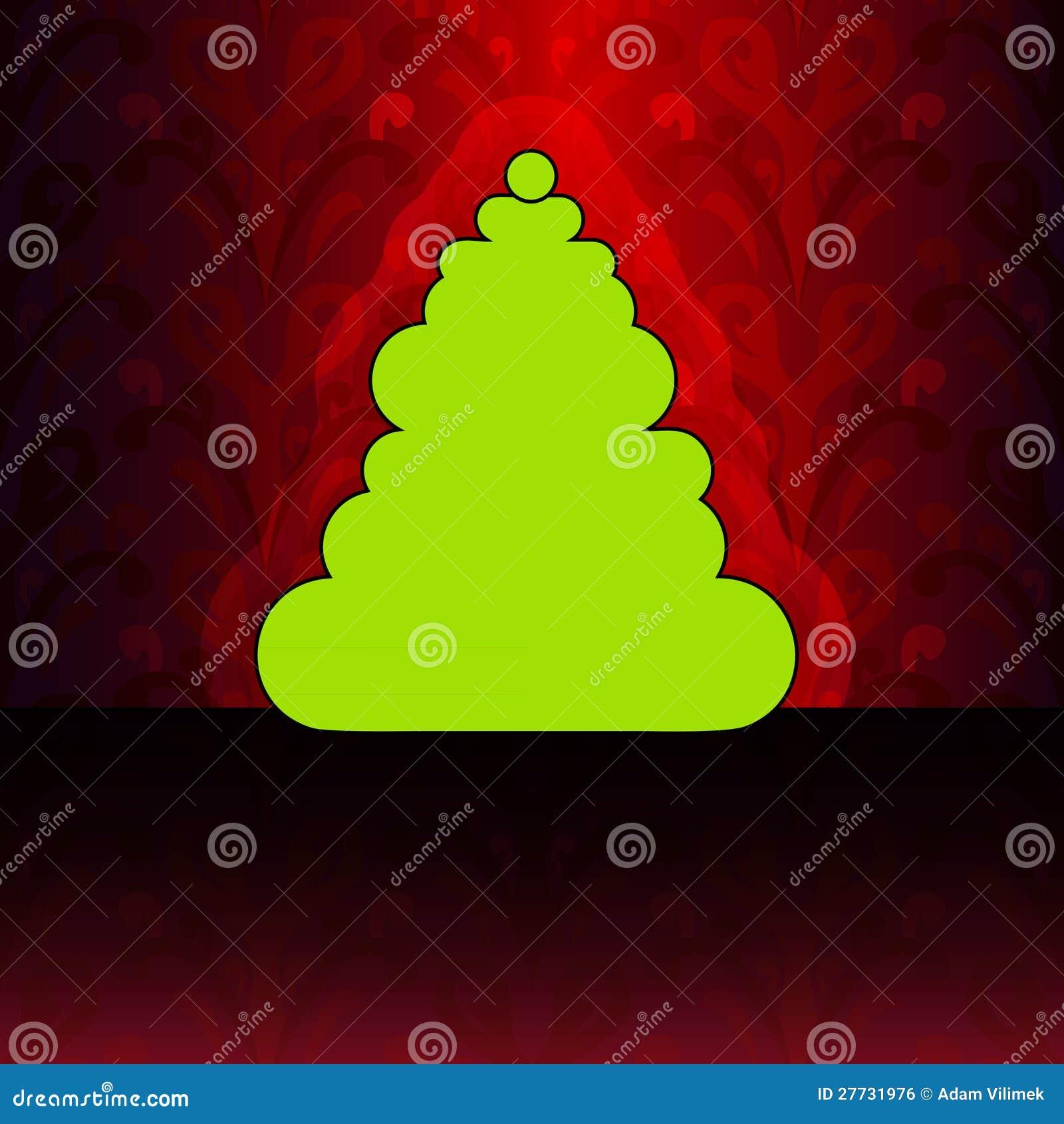 Runder Weihnachtsbaum auf rotem Blumenmuster