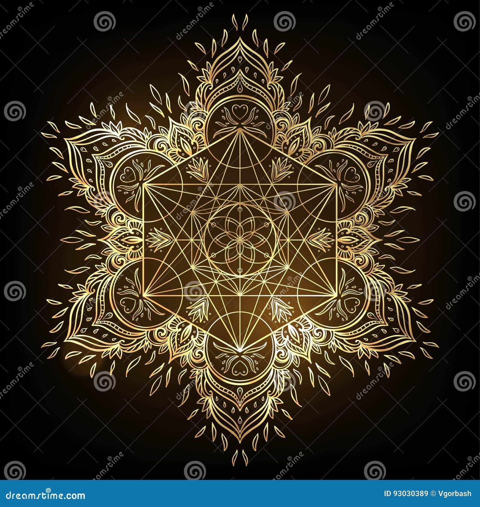 Rundes Muster Der Dekorativen Mandala Mit Heiligem Geometrieelement ...