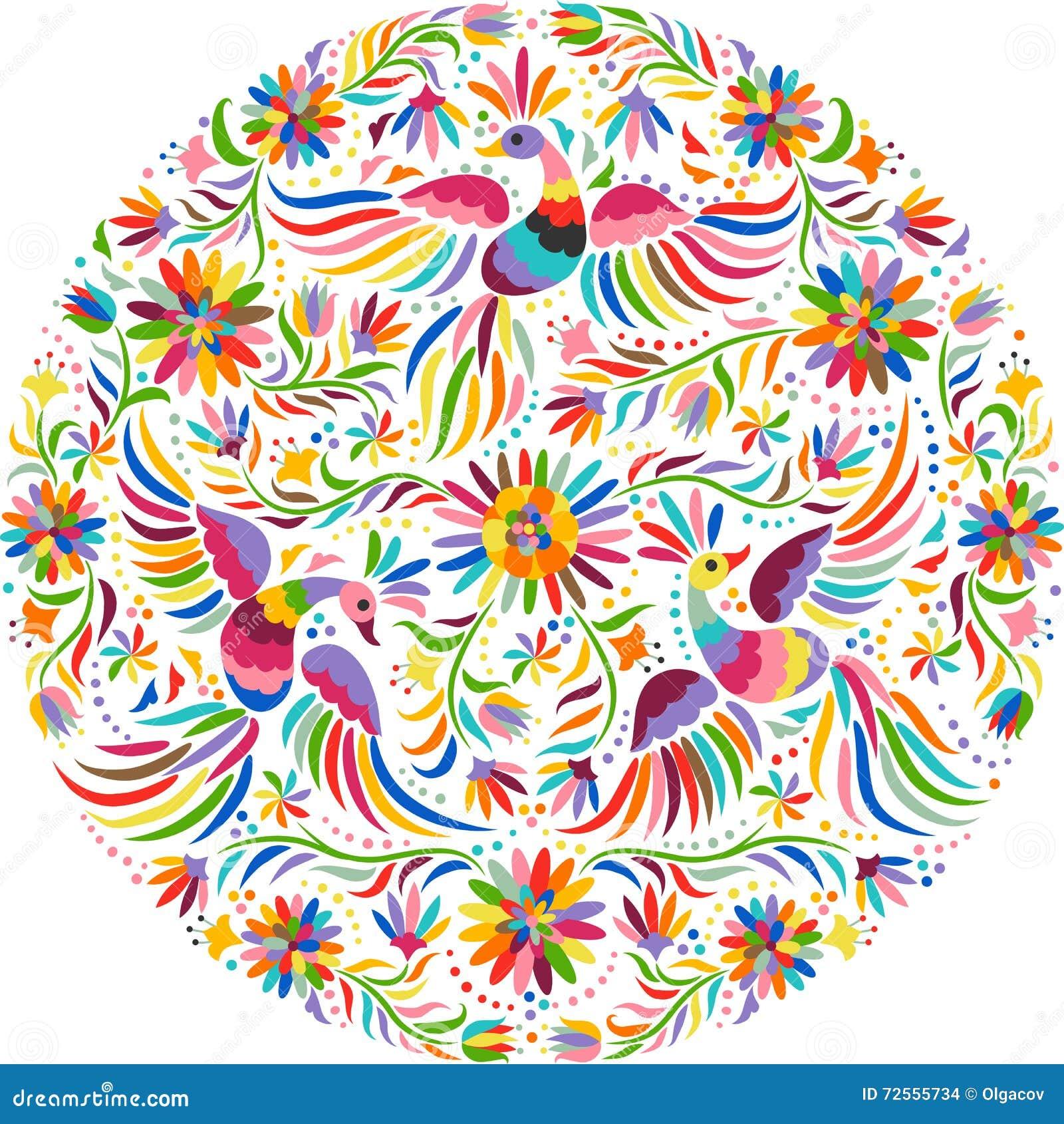 Rundes Muster der mexikanischen Stickerei des Vektors