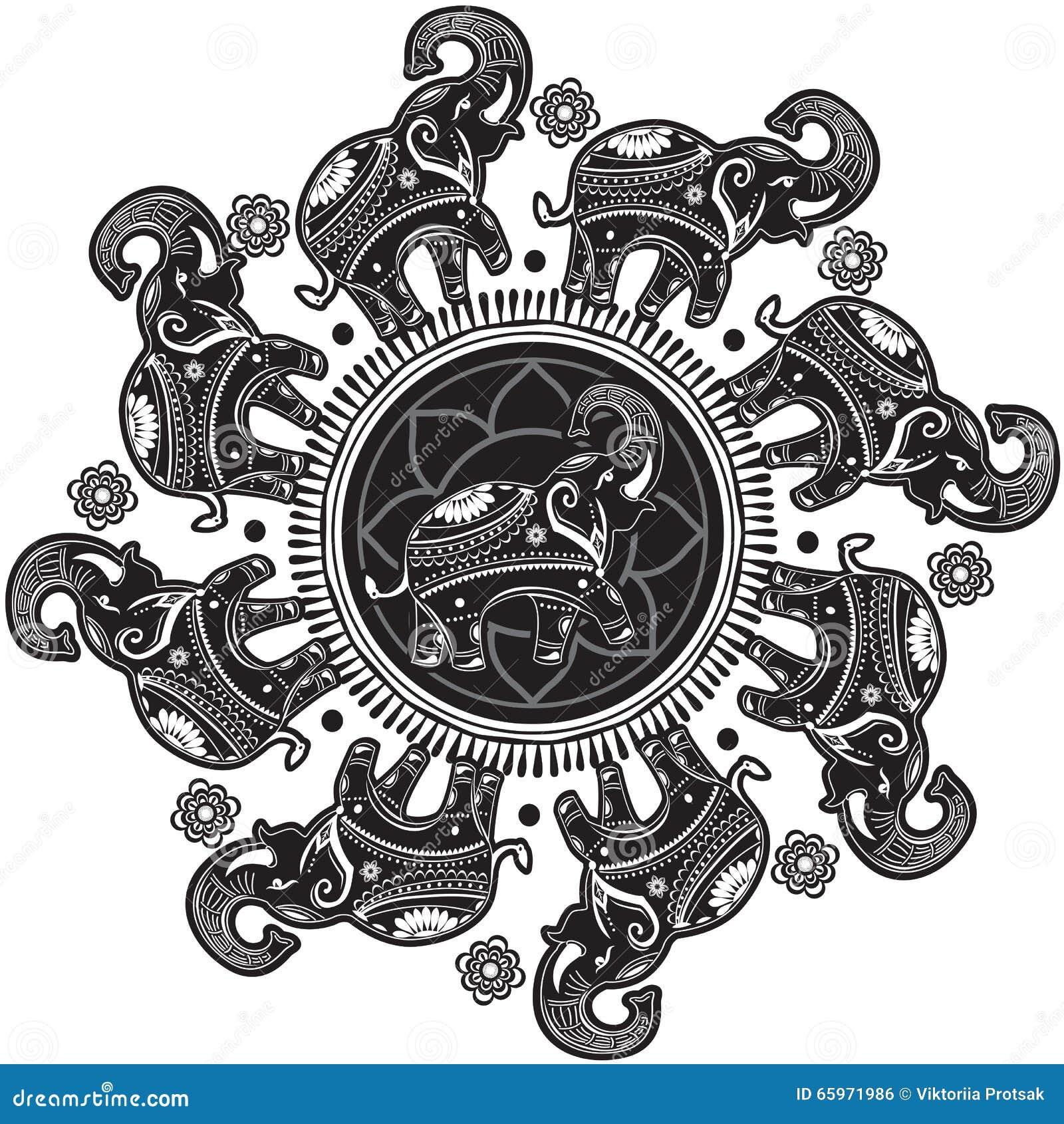 Rundes Muster mit verzierten Elefanten