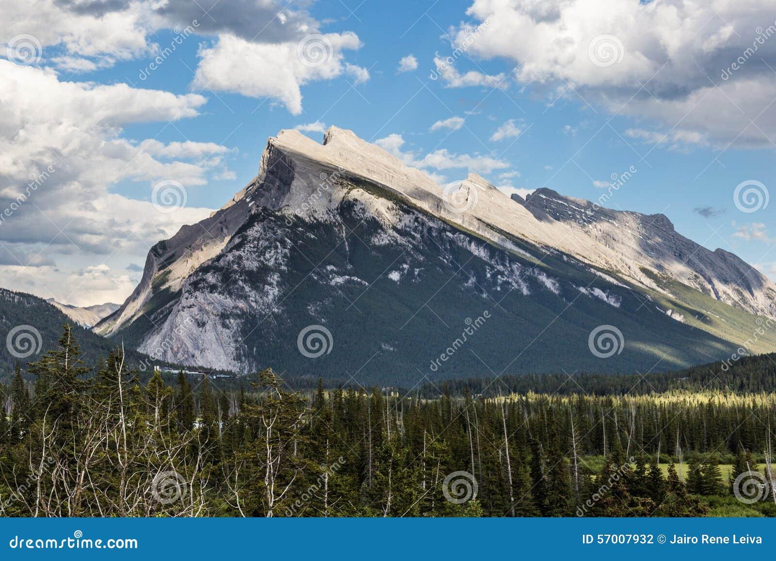 Rundle Mountain near Banff stock photo  Image of limestone
