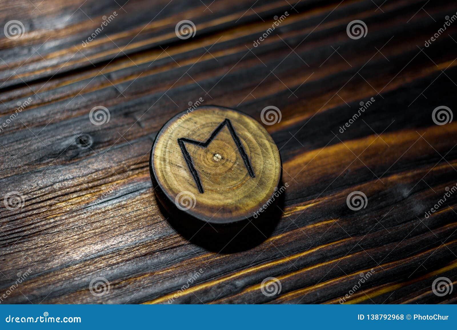 Rune Ehwaz rzeźbił od drewna na drewnianym tle