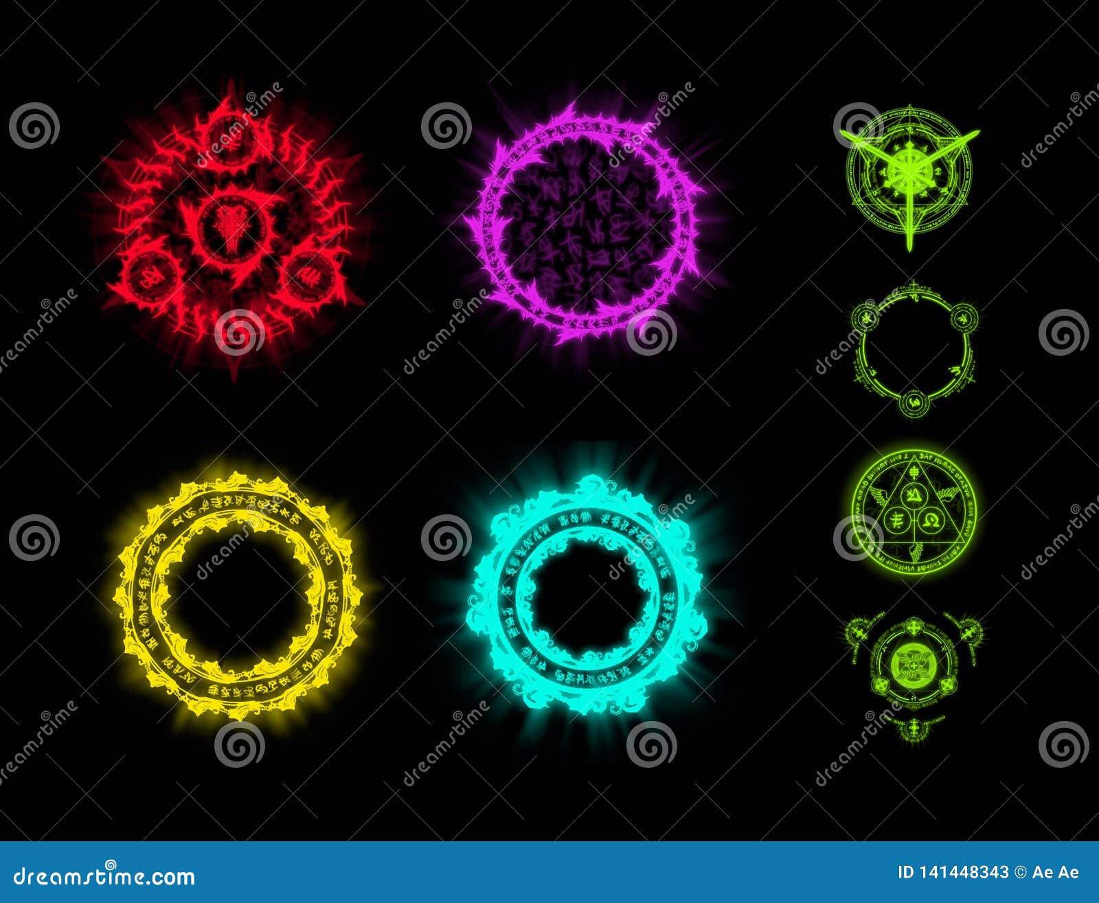 Runes i czary Umiejętności dla gry Elementy projekt dla gry Ikony rune czary na czerni izolowali tło