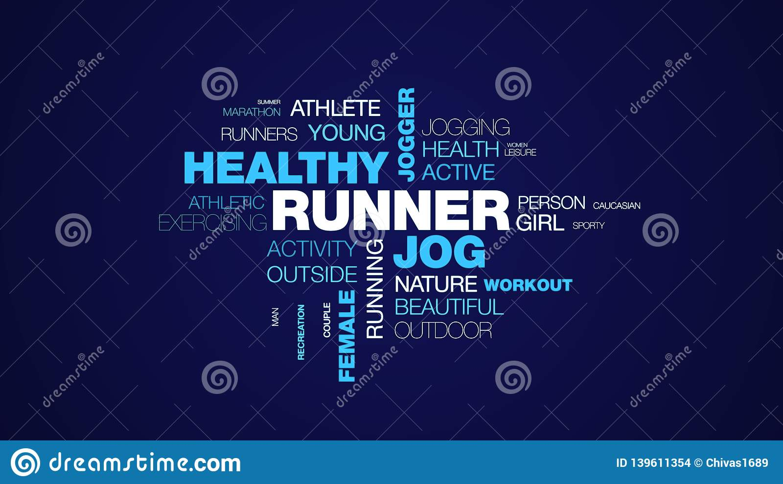 13ac7c0847ea1 Royalty-Free Illustration. Runner jog healthy jogger lifestyle fit fitness  sport exercise female people animated word cloud background in