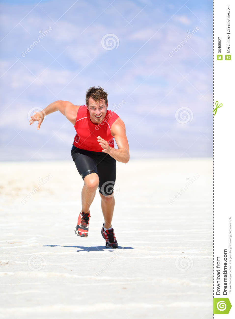 Runner - Man Running Sprinting Outdoor Royalty Free Stock ...