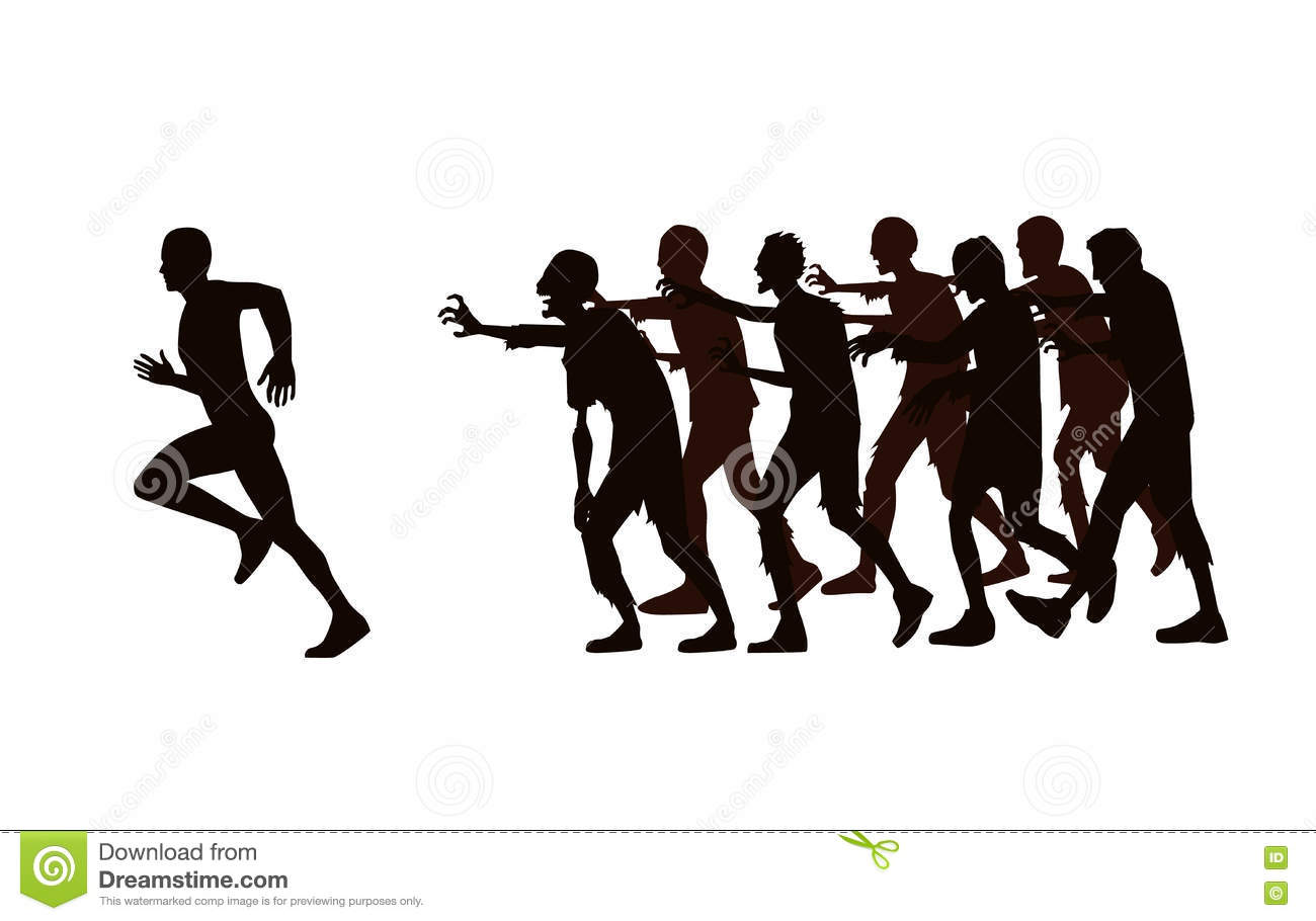 People running away from zombies